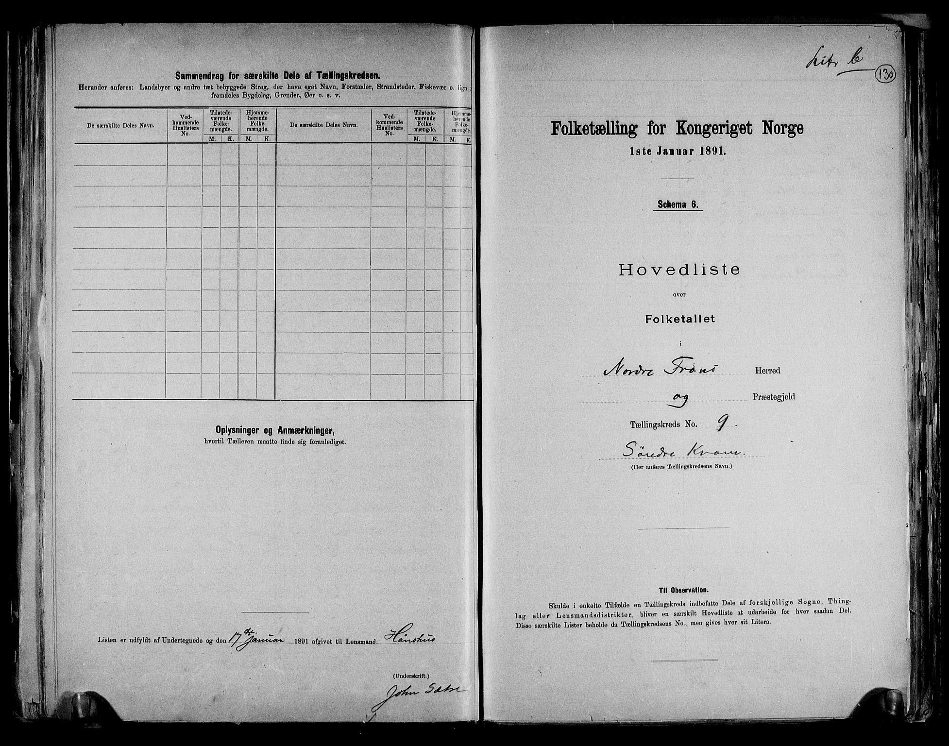RA, Folketelling 1891 for 0518 Nord-Fron herred, 1891, s. 25