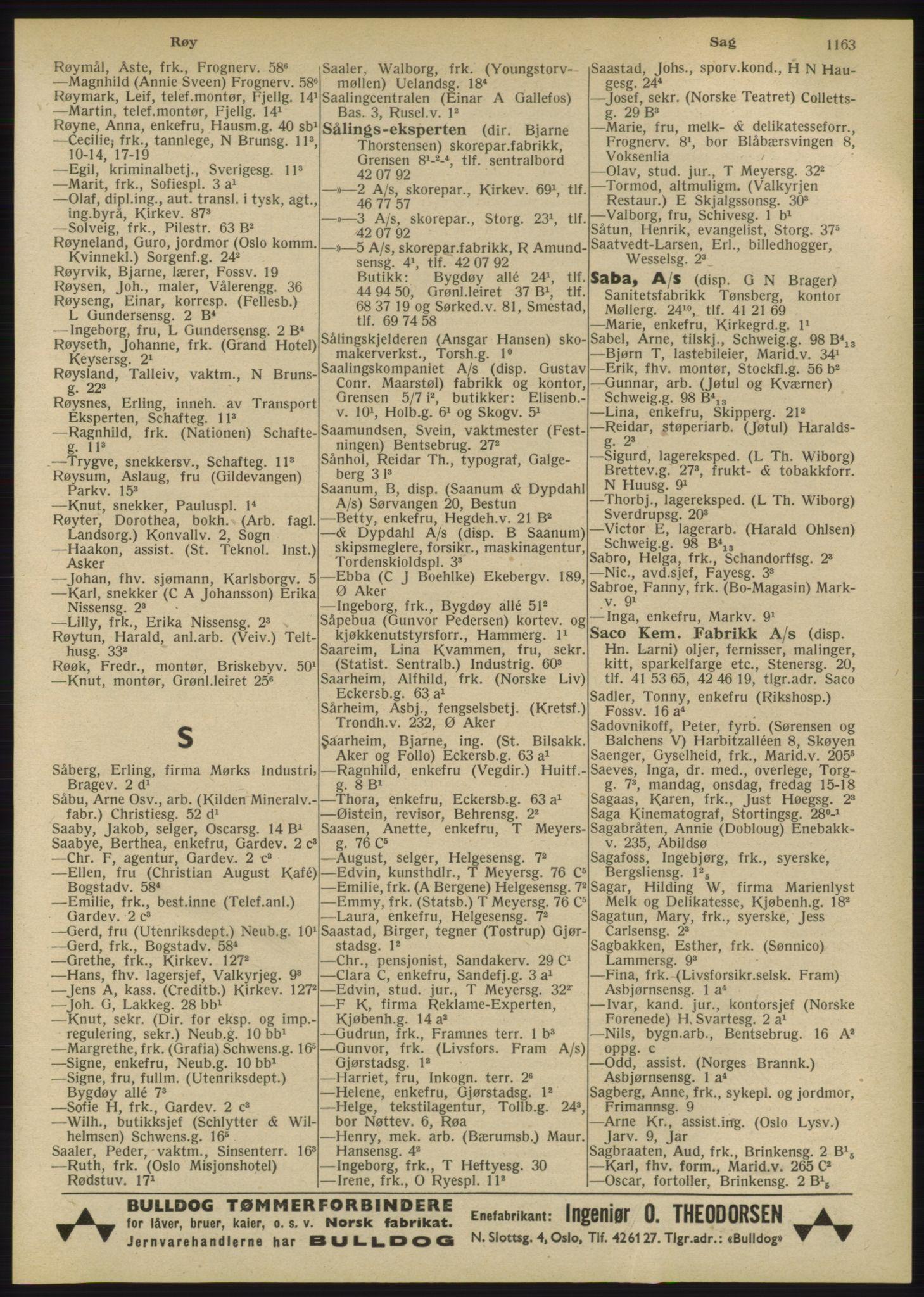 RA, Oslo adressebok (publikasjon)*, 1947, s. 1163