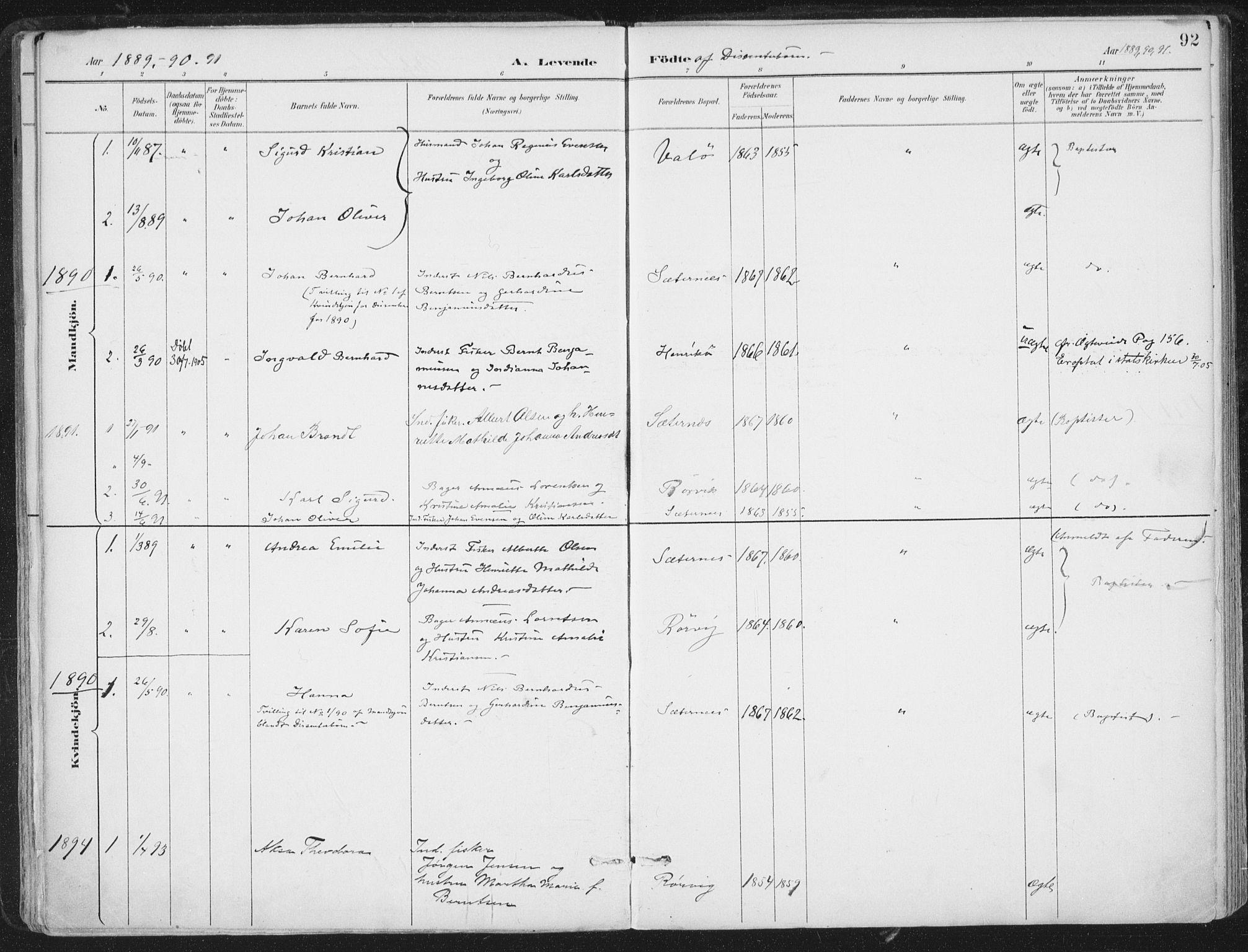 SAT, Ministerialprotokoller, klokkerbøker og fødselsregistre - Nord-Trøndelag, 786/L0687: Ministerialbok nr. 786A03, 1888-1898, s. 92