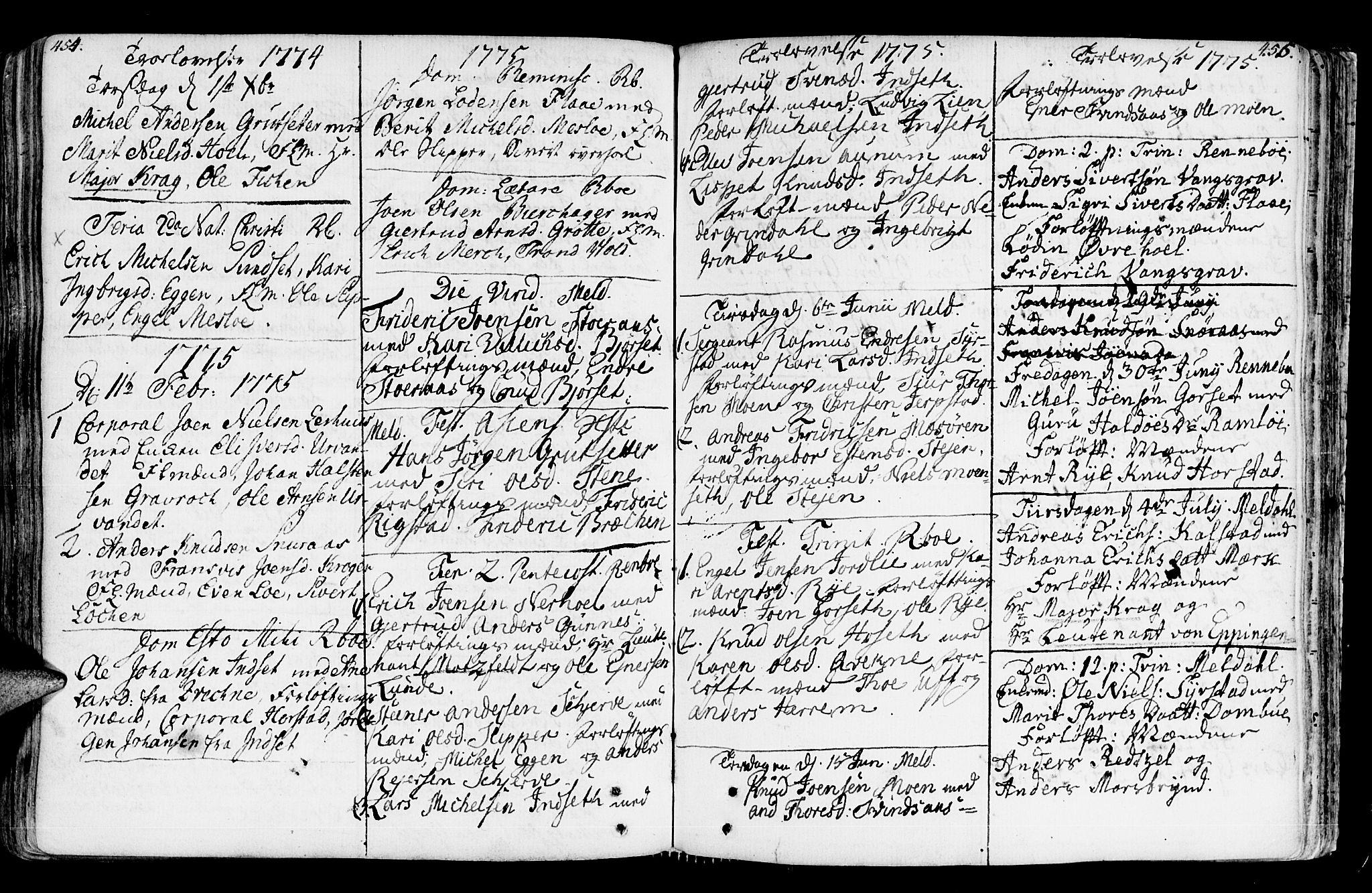 SAT, Ministerialprotokoller, klokkerbøker og fødselsregistre - Sør-Trøndelag, 672/L0851: Ministerialbok nr. 672A04, 1751-1775, s. 454-455