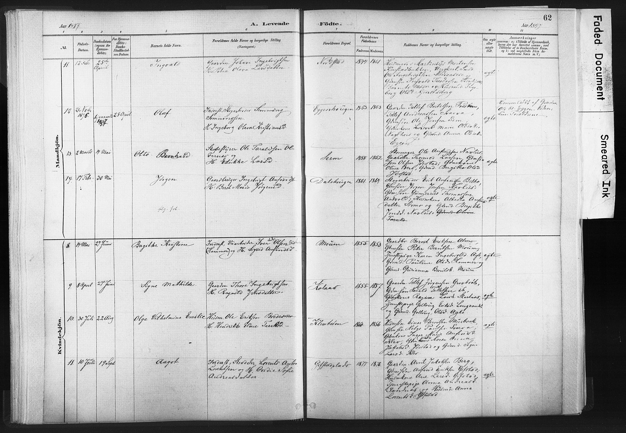 SAT, Ministerialprotokoller, klokkerbøker og fødselsregistre - Nord-Trøndelag, 749/L0474: Ministerialbok nr. 749A08, 1887-1903, s. 62