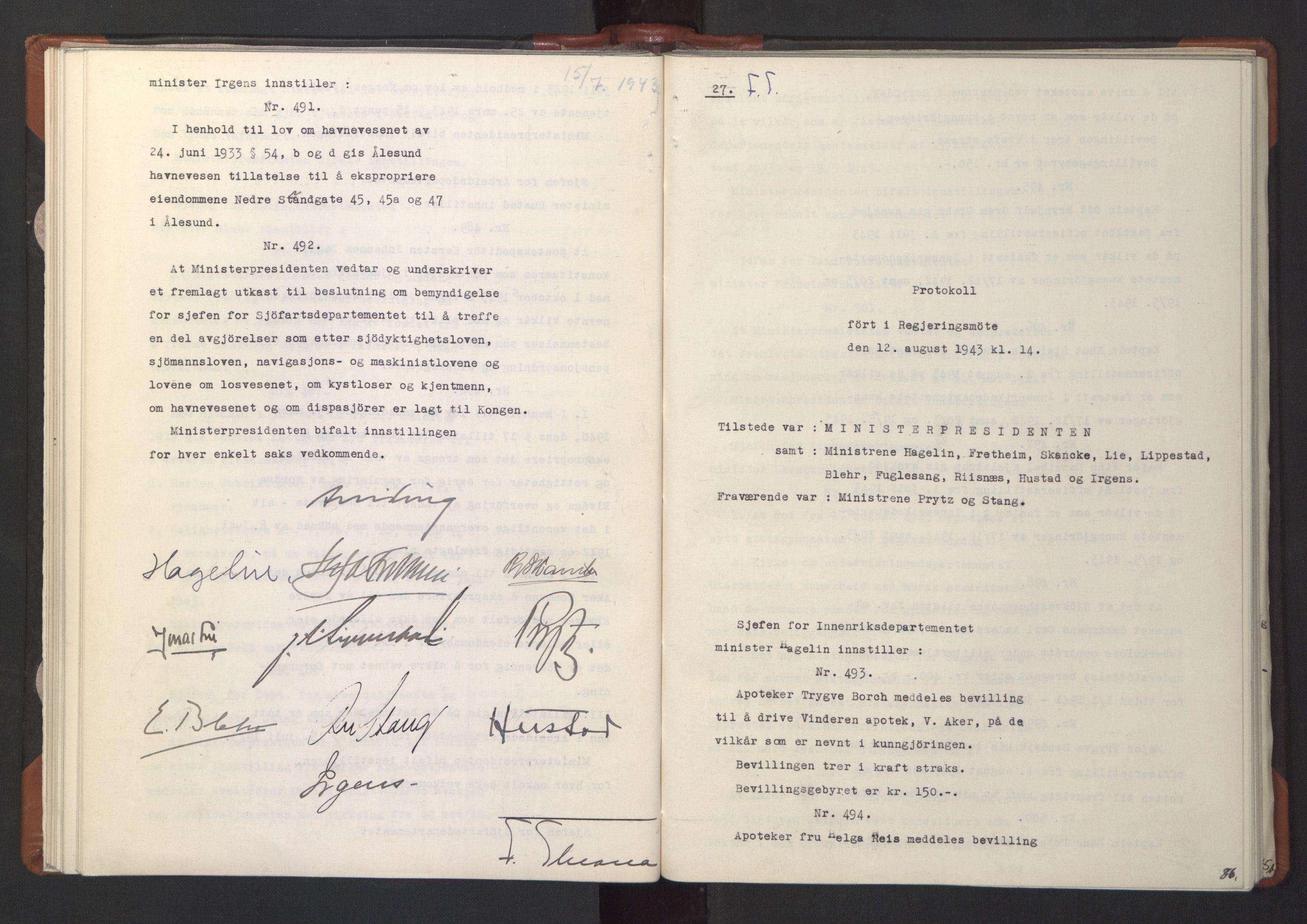 RA, NS-administrasjonen 1940-1945 (Statsrådsekretariatet, de kommisariske statsråder mm), D/Da/L0003: Vedtak (Beslutninger) nr. 1-746 og tillegg nr. 1-47 (RA. j.nr. 1394/1944, tilgangsnr. 8/1944, 1943, s. 85b-86a
