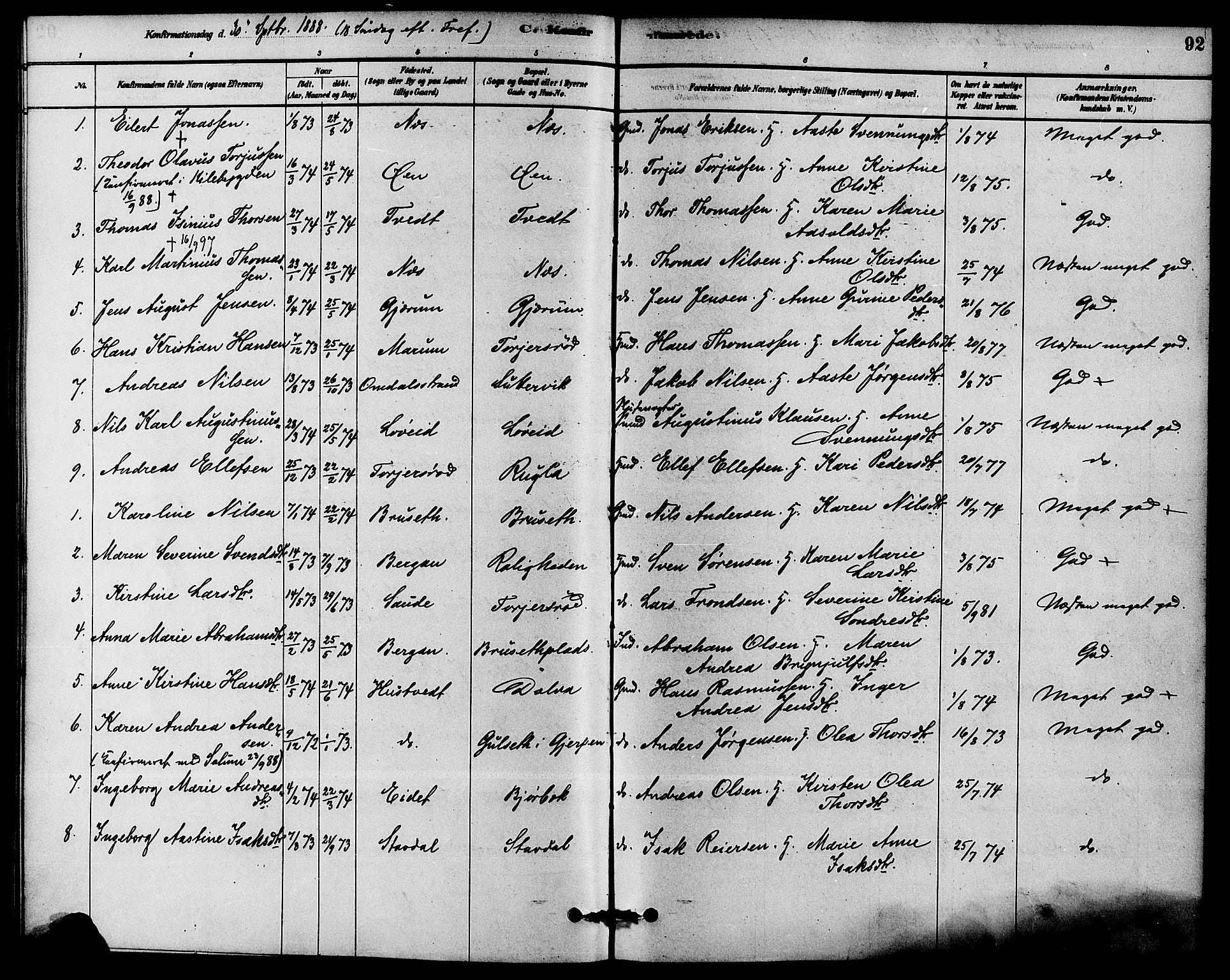 SAKO, Solum kirkebøker, F/Fb/L0001: Ministerialbok nr. II 1, 1877-1892, s. 92