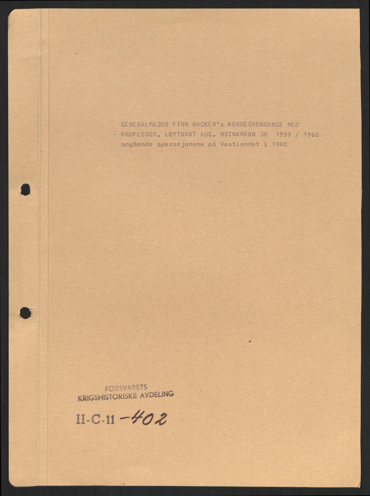 RA, Forsvaret, Forsvarets krigshistoriske avdeling, Y/Yb/L0100: II-C-11-401-402  -  4. Divisjon., 1940-1962, s. 448