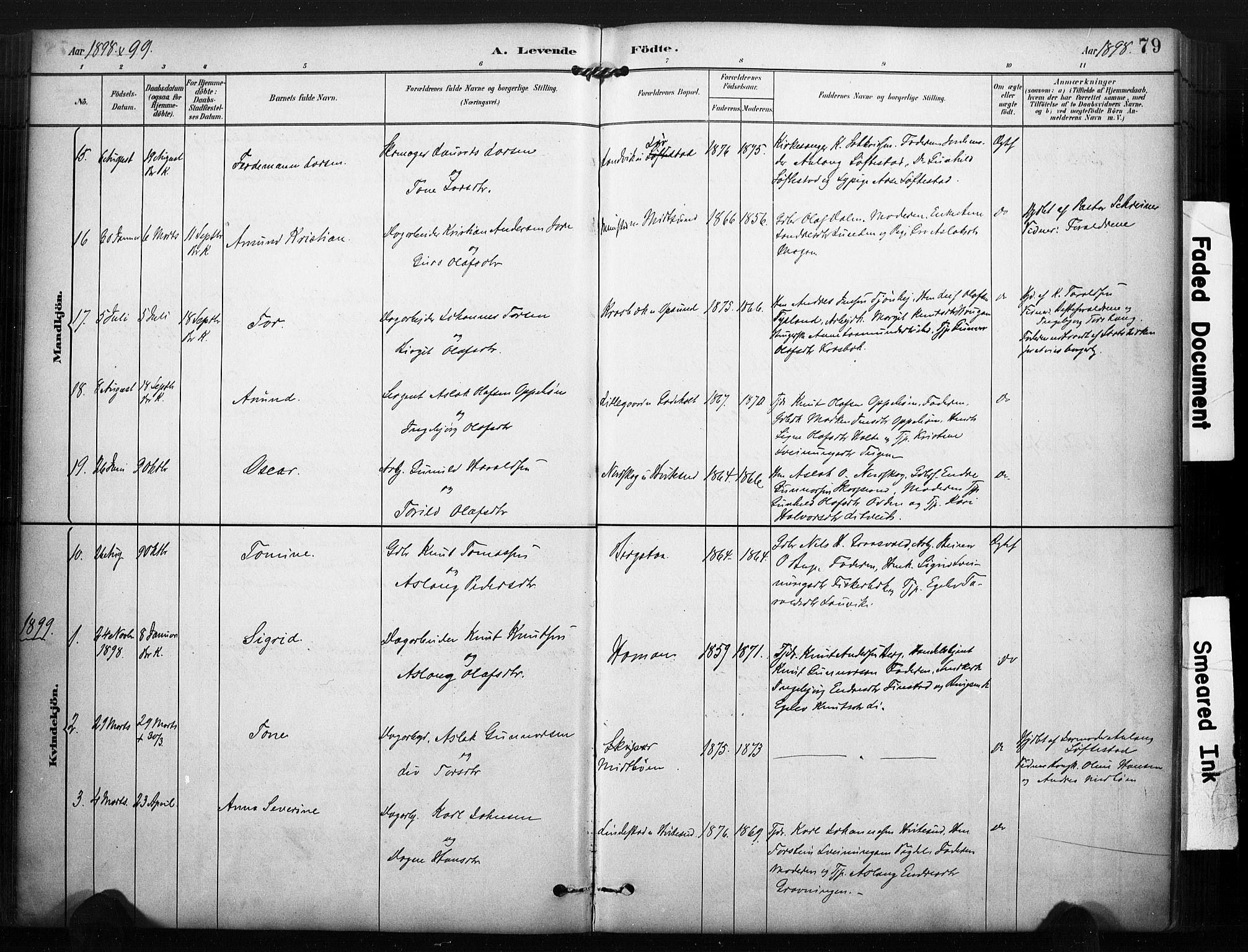 SAKO, Kviteseid kirkebøker, F/Fa/L0008: Ministerialbok nr. I 8, 1882-1903, s. 79