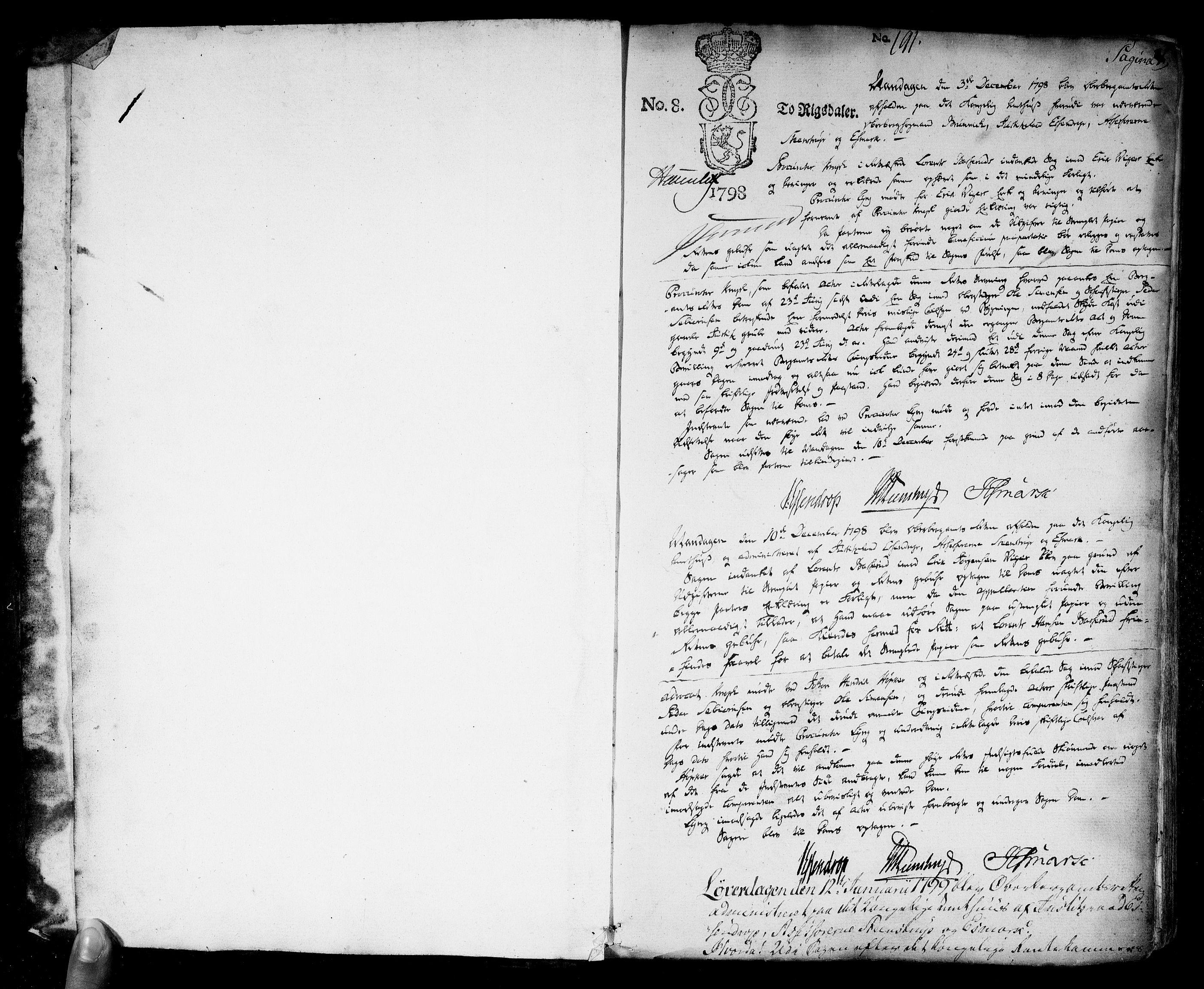 RA, Overbergamtet 1621-1830, K/Ka/L0006: Rettsprotokoll, 1798-1824, s. 0-1