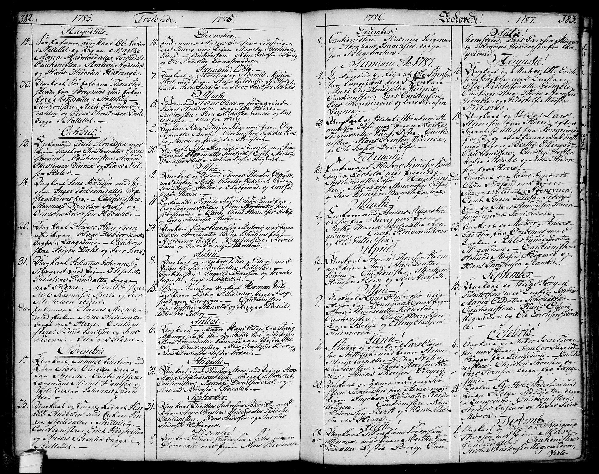 SAKO, Bamble kirkebøker, F/Fa/L0002: Ministerialbok nr. I 2, 1775-1814, s. 382-383