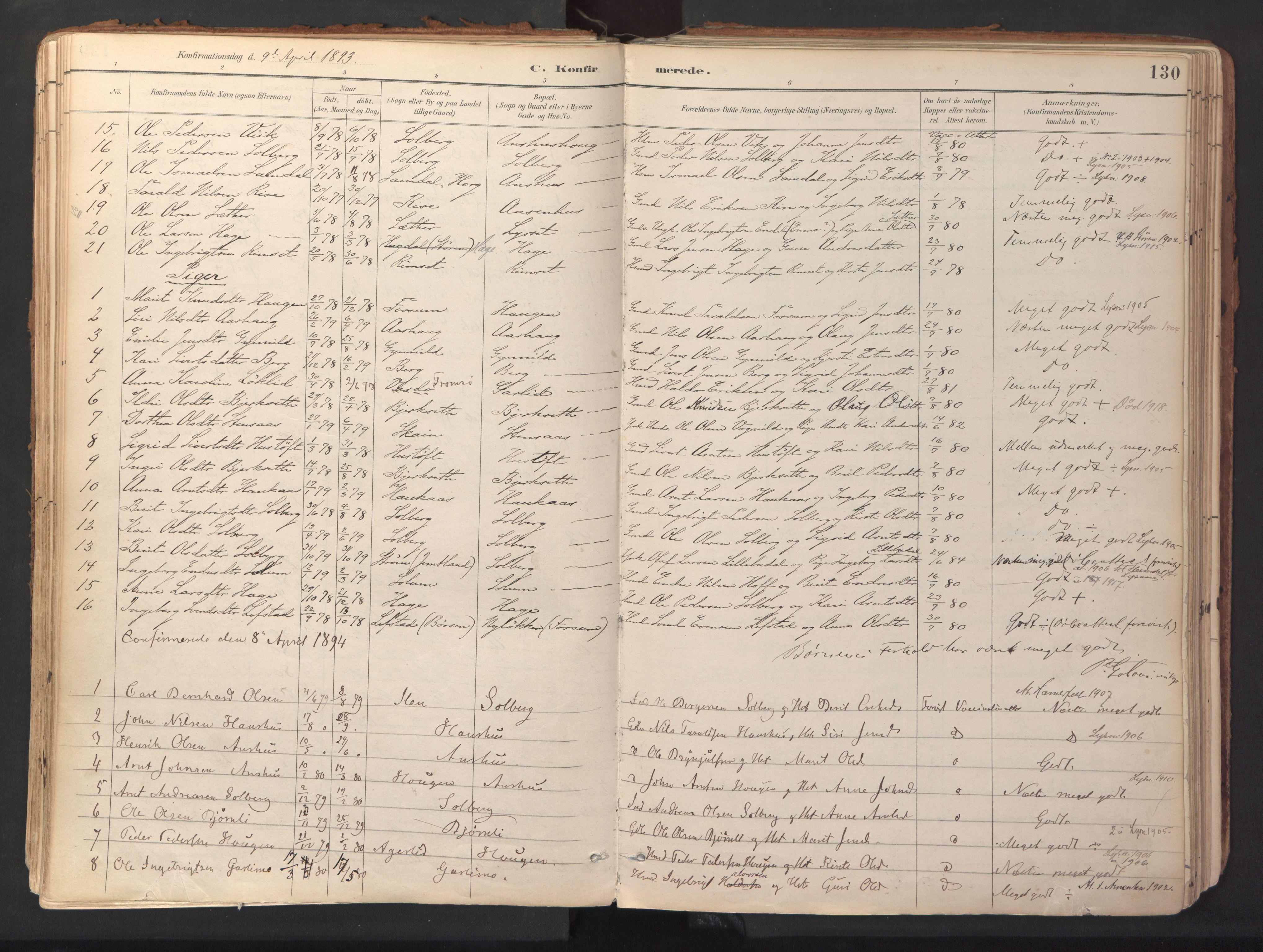 SAT, Ministerialprotokoller, klokkerbøker og fødselsregistre - Sør-Trøndelag, 689/L1041: Ministerialbok nr. 689A06, 1891-1923, s. 130