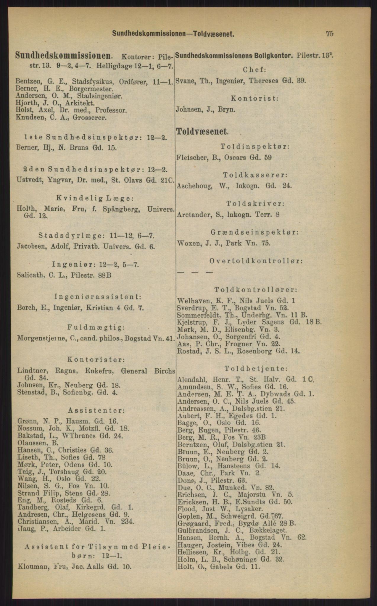 RA, Kristiania adressebok (publikasjon)*, 1903, s. 75