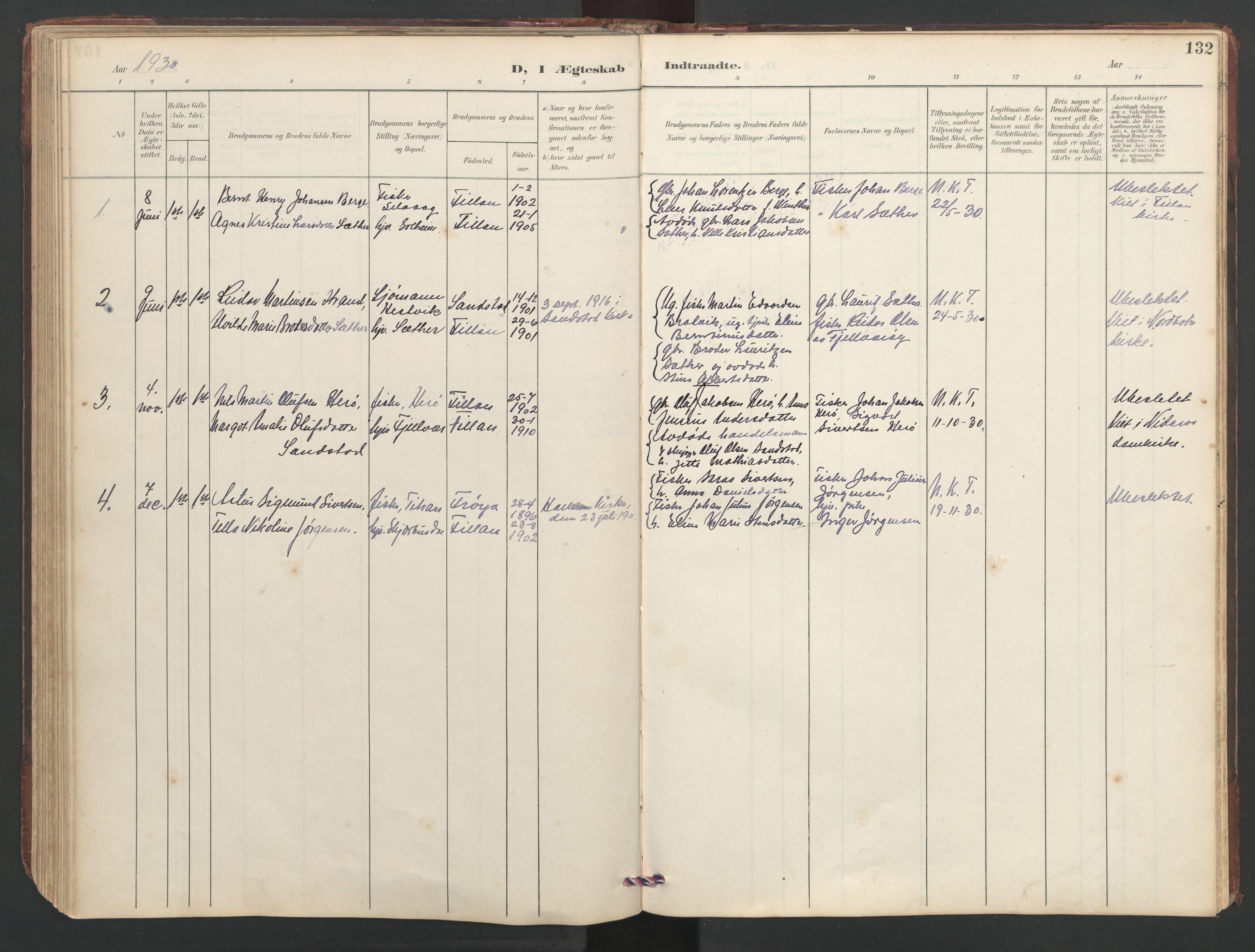 SAT, Ministerialprotokoller, klokkerbøker og fødselsregistre - Sør-Trøndelag, 638/L0571: Klokkerbok nr. 638C03, 1901-1930, s. 132