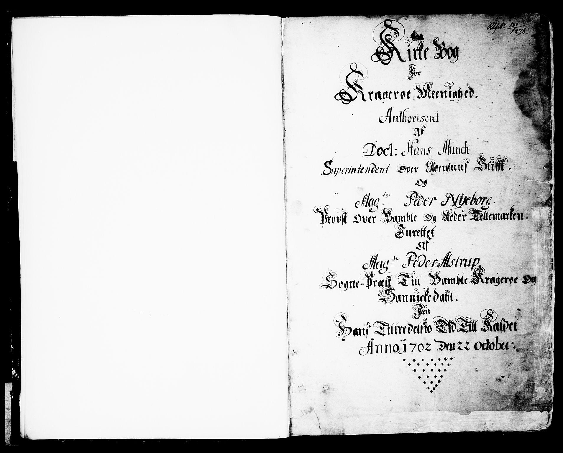 SAKO, Kragerø kirkebøker, F/Fa/L0001: Ministerialbok nr. 1, 1702-1766