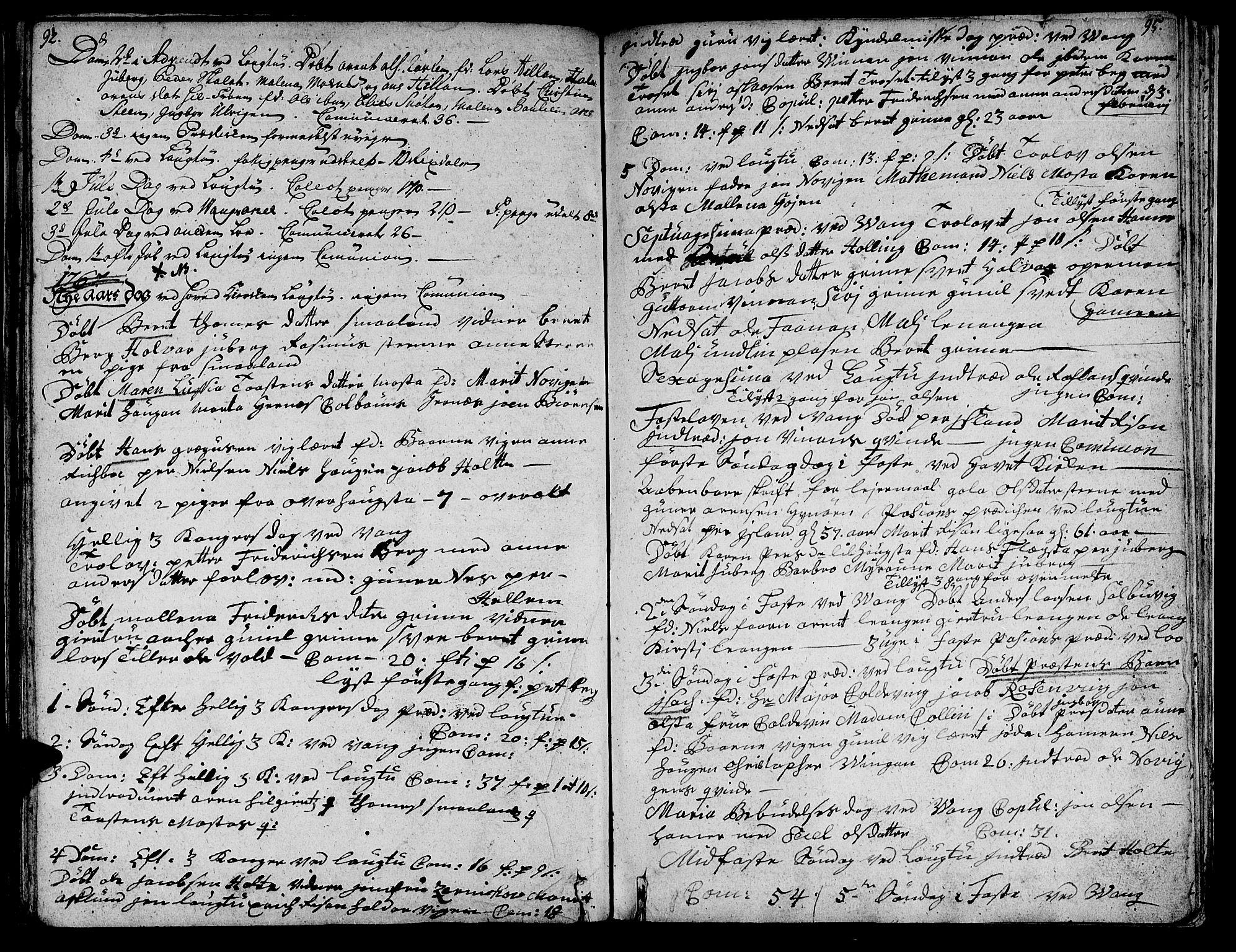SAT, Ministerialprotokoller, klokkerbøker og fødselsregistre - Nord-Trøndelag, 713/L0109: Ministerialbok nr. 713A01, 1750-1778, s. 92-95