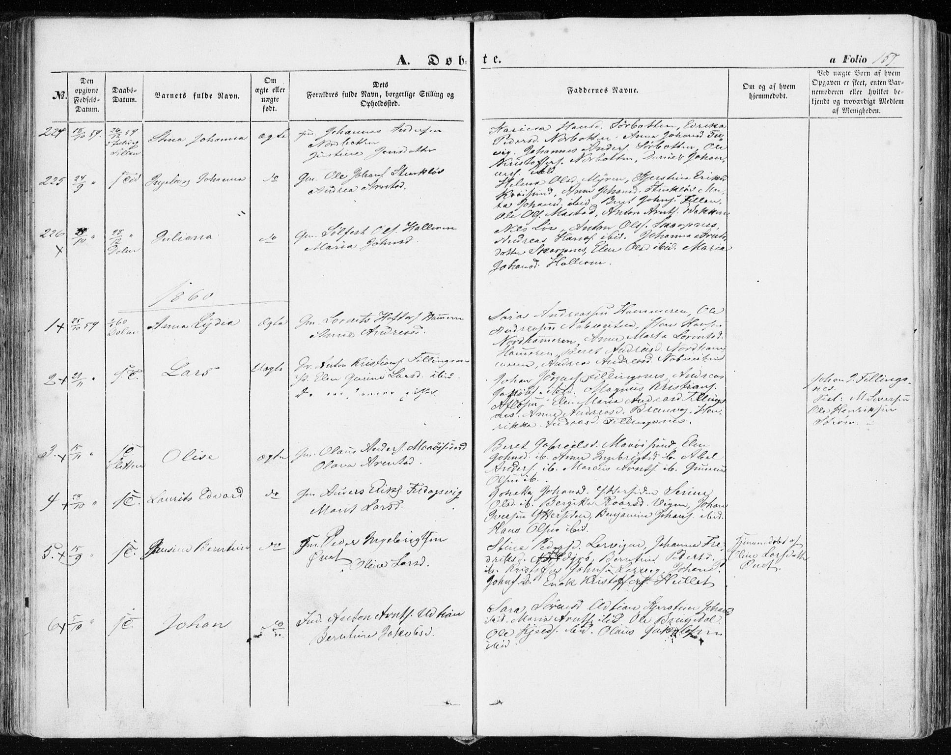 SAT, Ministerialprotokoller, klokkerbøker og fødselsregistre - Sør-Trøndelag, 634/L0530: Ministerialbok nr. 634A06, 1852-1860, s. 157