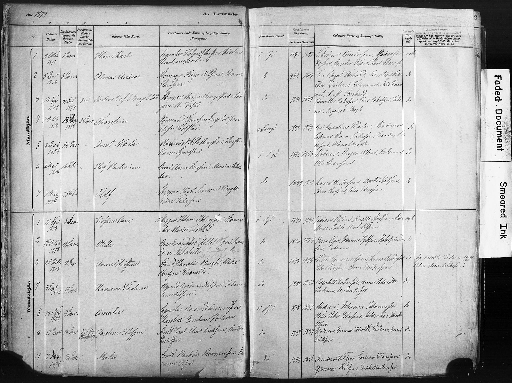 SAKO, Porsgrunn kirkebøker , F/Fa/L0008: Ministerialbok nr. 8, 1878-1895, s. 11