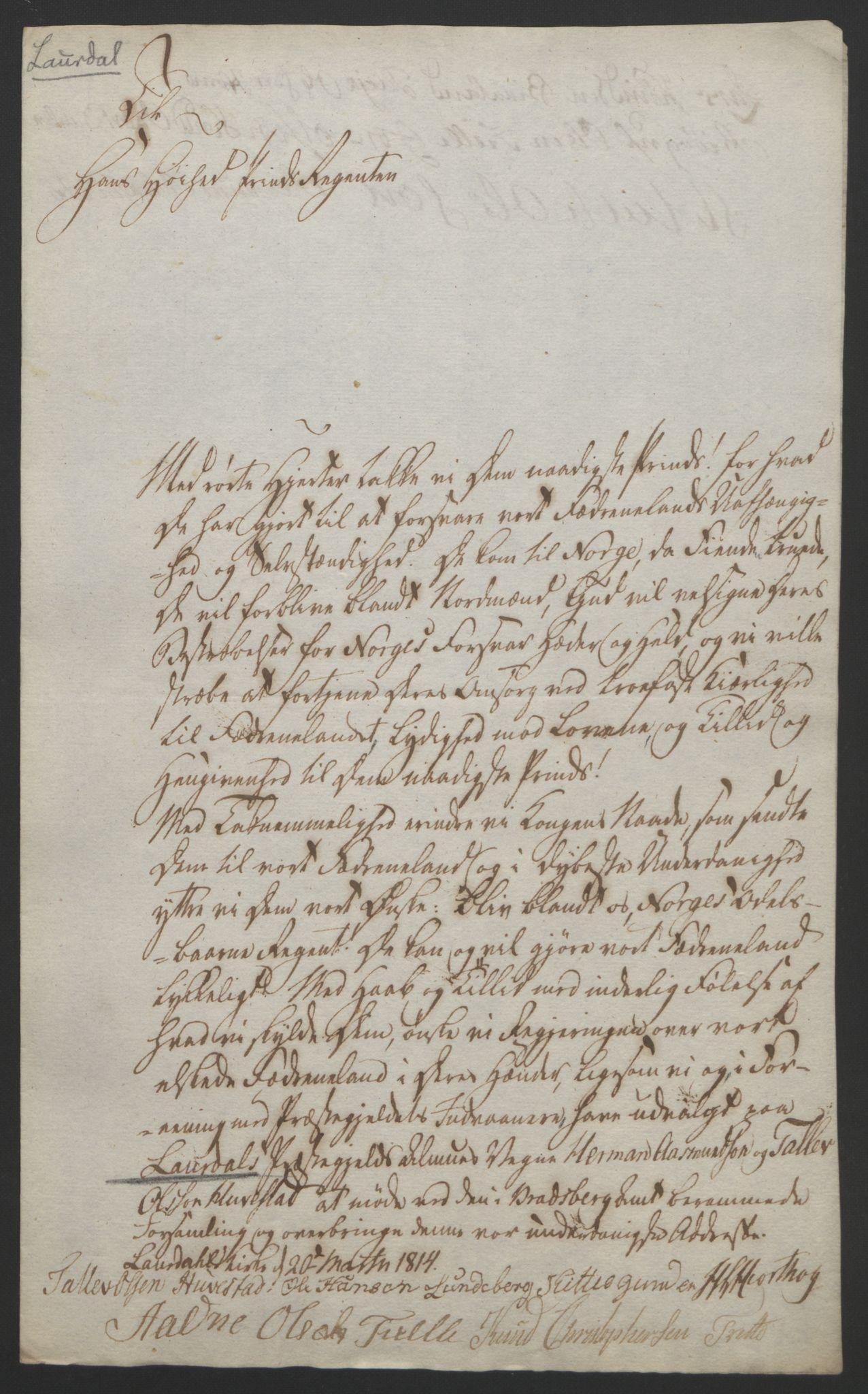 RA, Statsrådssekretariatet, D/Db/L0008: Fullmakter for Eidsvollsrepresentantene i 1814. , 1814, s. 57