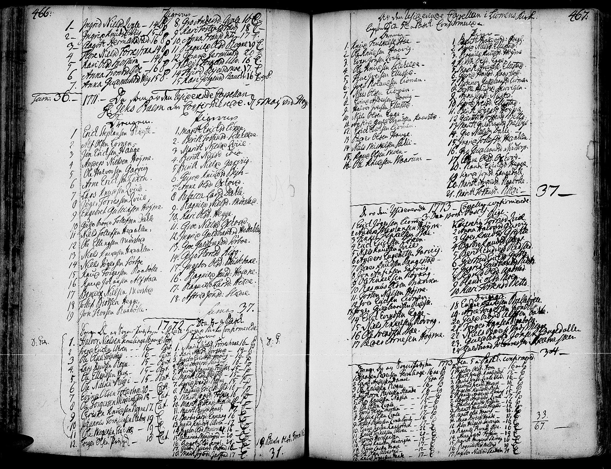 SAH, Slidre prestekontor, Ministerialbok nr. 1, 1724-1814, s. 466-467