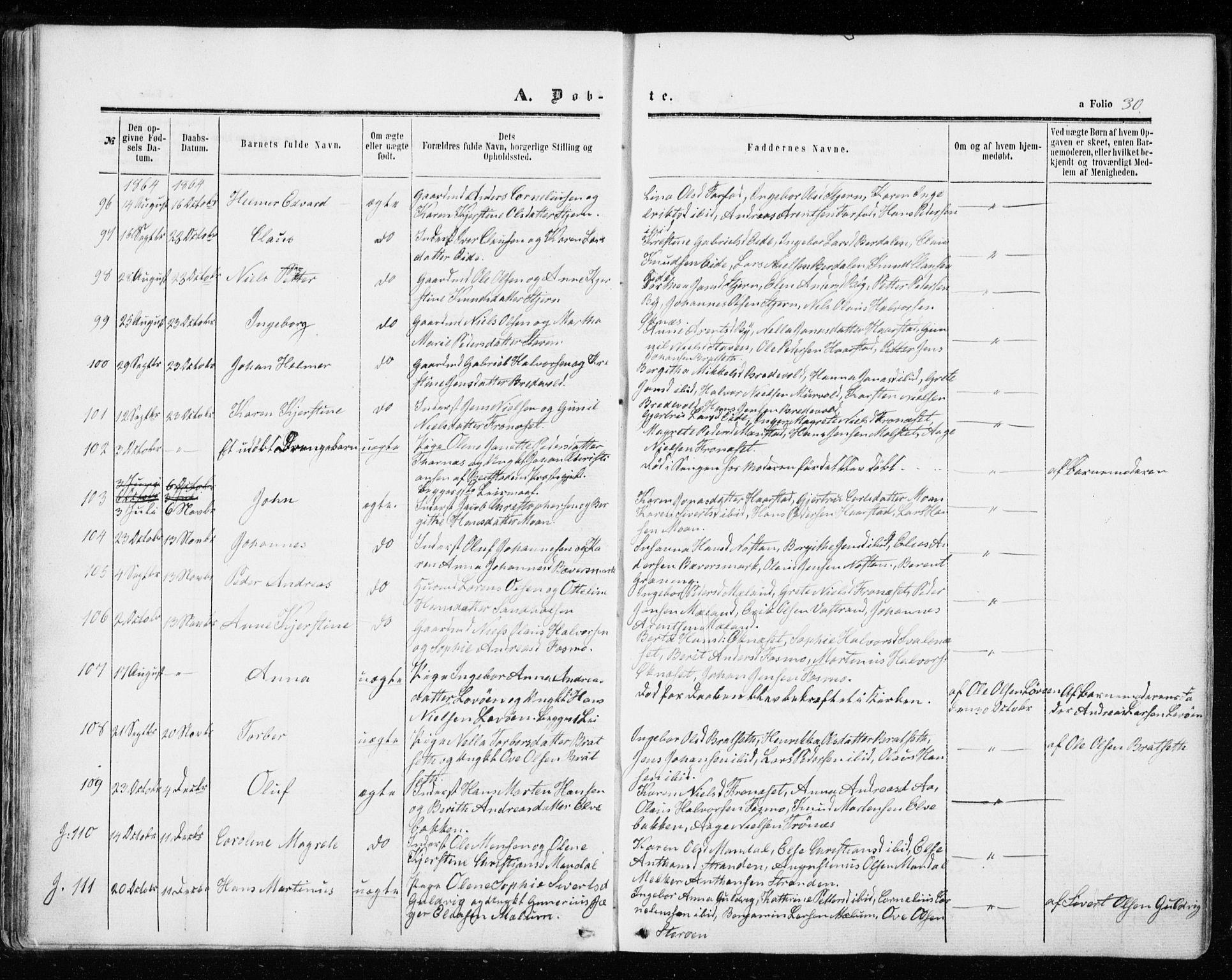 SAT, Ministerialprotokoller, klokkerbøker og fødselsregistre - Sør-Trøndelag, 655/L0678: Ministerialbok nr. 655A07, 1861-1873, s. 30