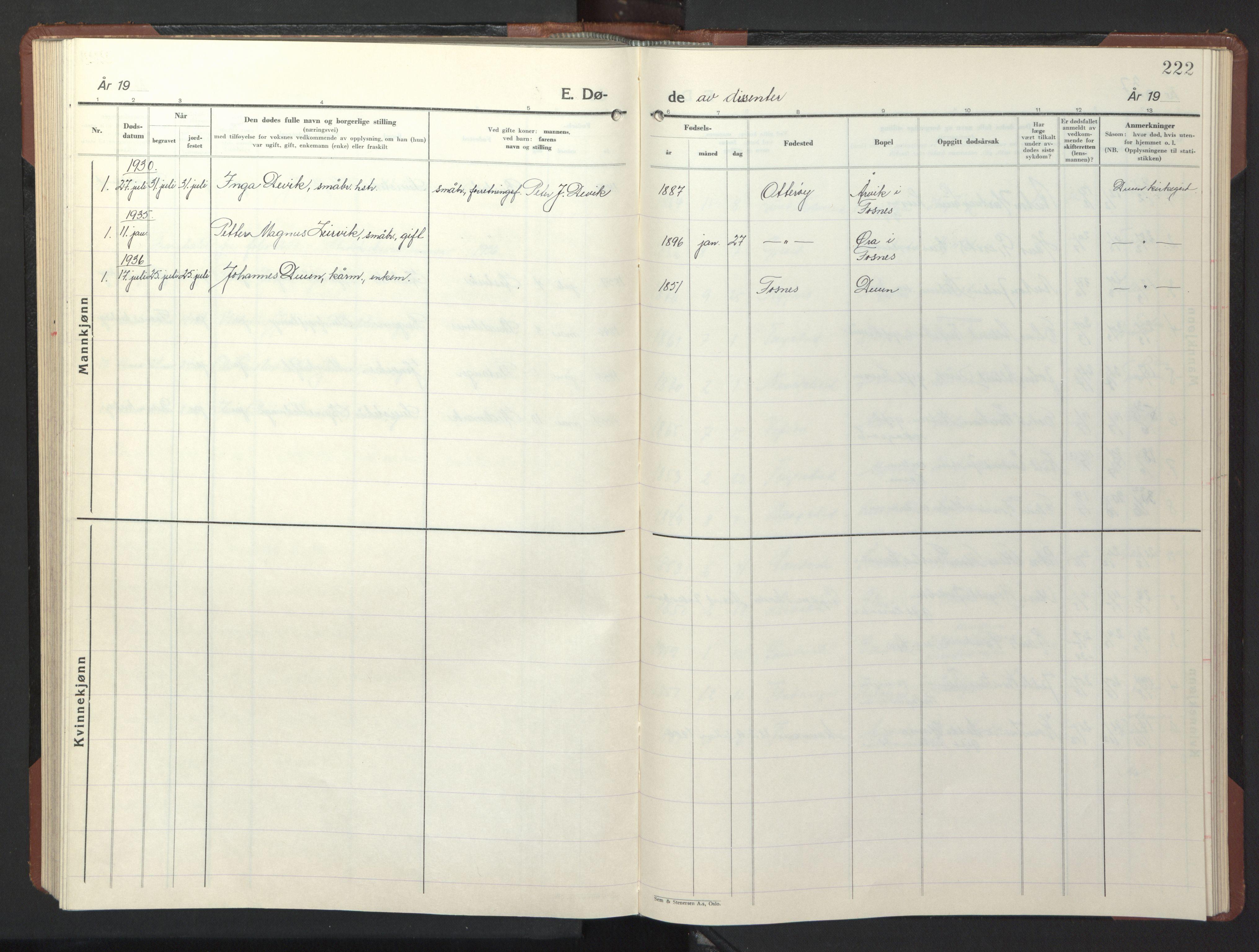 SAT, Ministerialprotokoller, klokkerbøker og fødselsregistre - Nord-Trøndelag, 773/L0625: Klokkerbok nr. 773C01, 1910-1952, s. 222