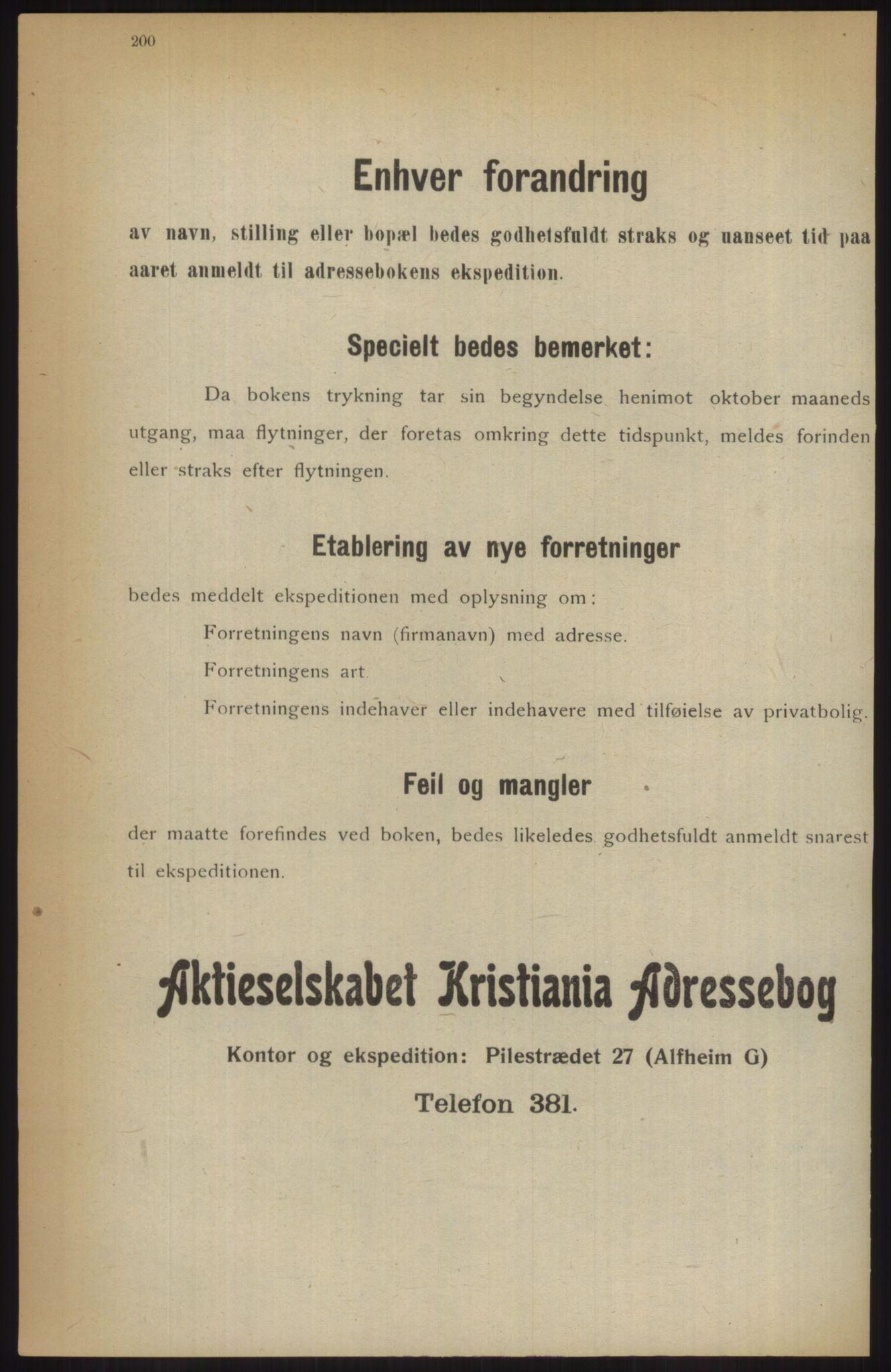 RA, Kristiania adressebok (publikasjon)*, 1914, s. 200