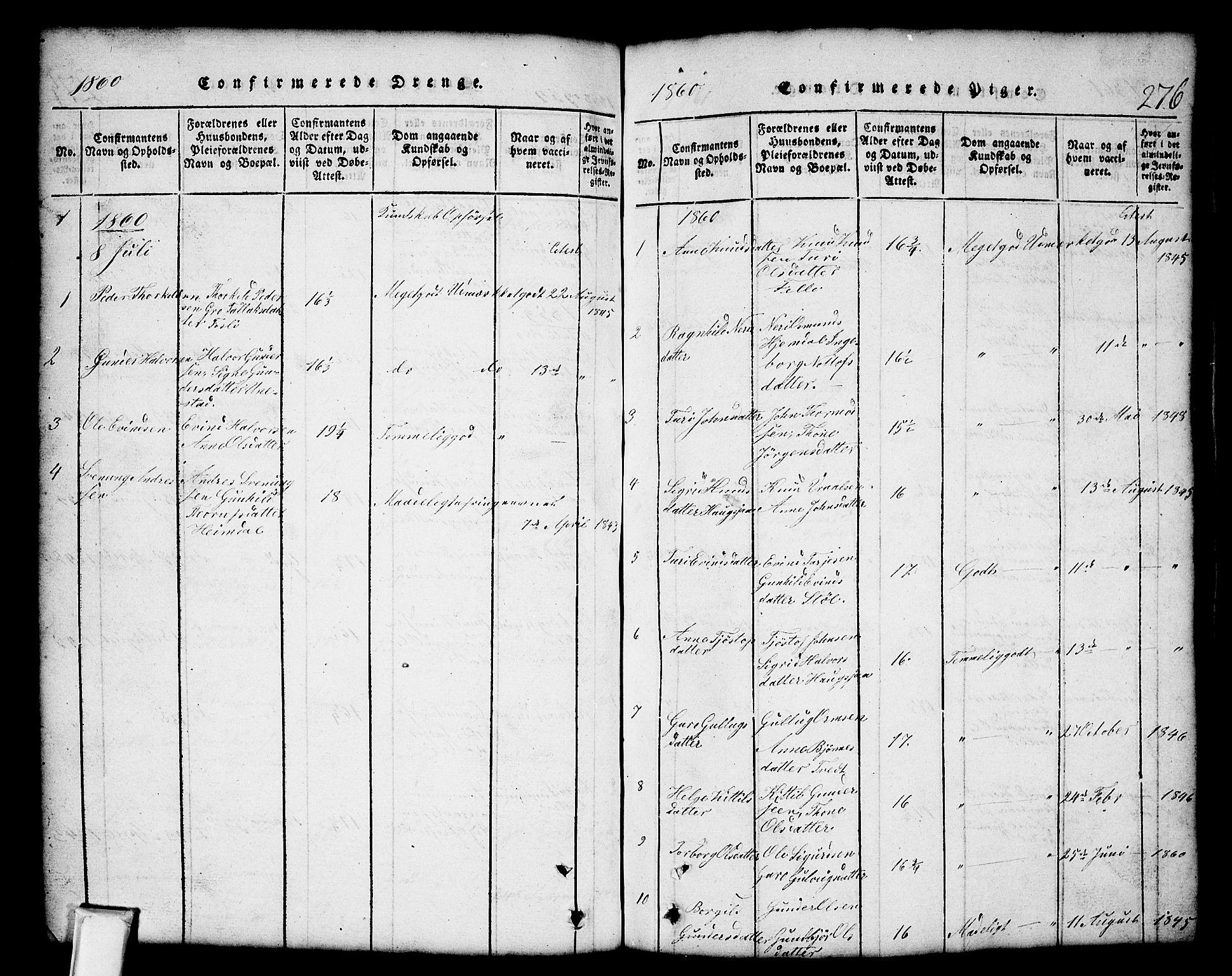SAKO, Nissedal kirkebøker, G/Gb/L0001: Klokkerbok nr. II 1, 1814-1862, s. 276