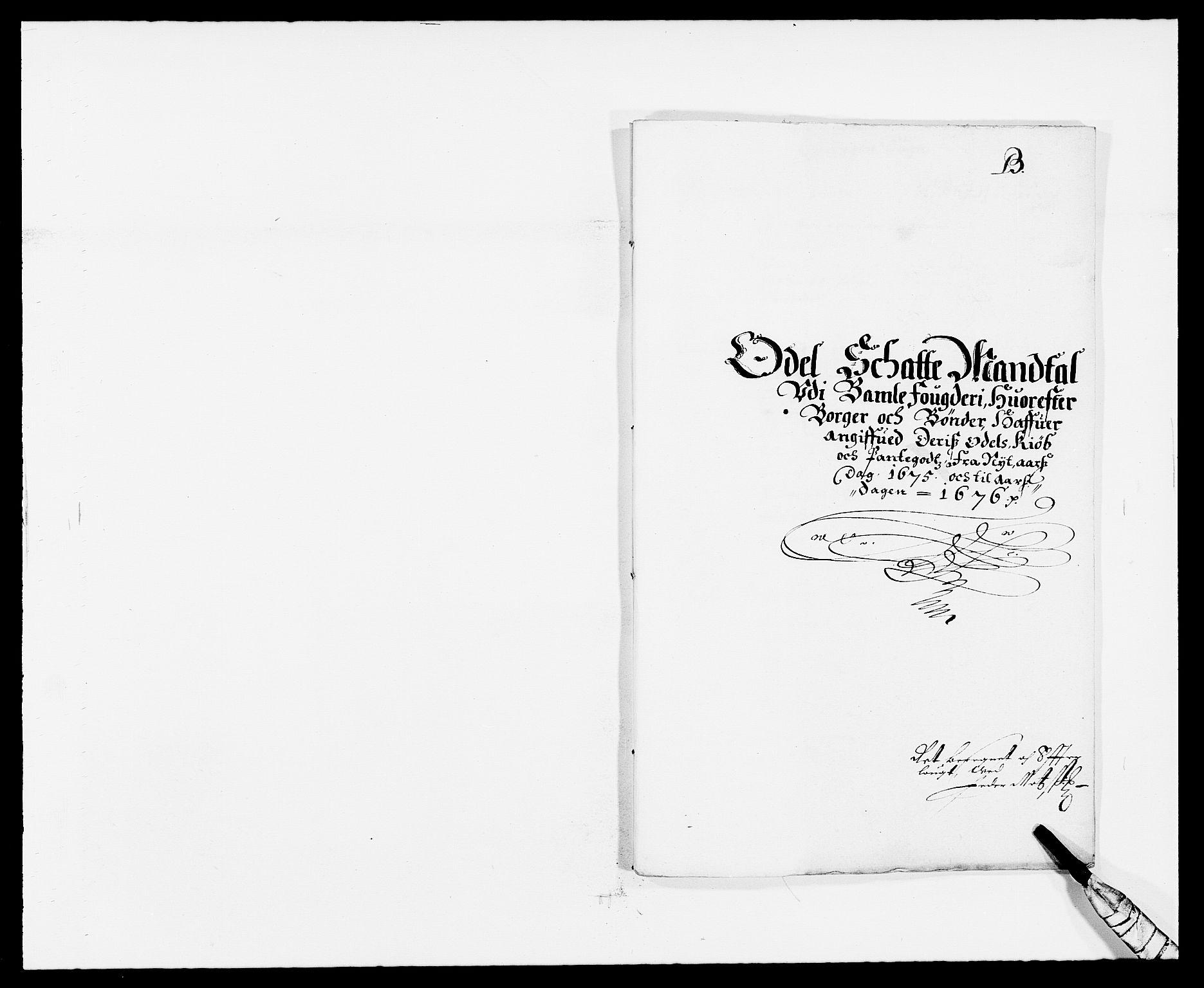 RA, Rentekammeret inntil 1814, Reviderte regnskaper, Fogderegnskap, R34/L2042: Fogderegnskap Bamble, 1673-1675, s. 327