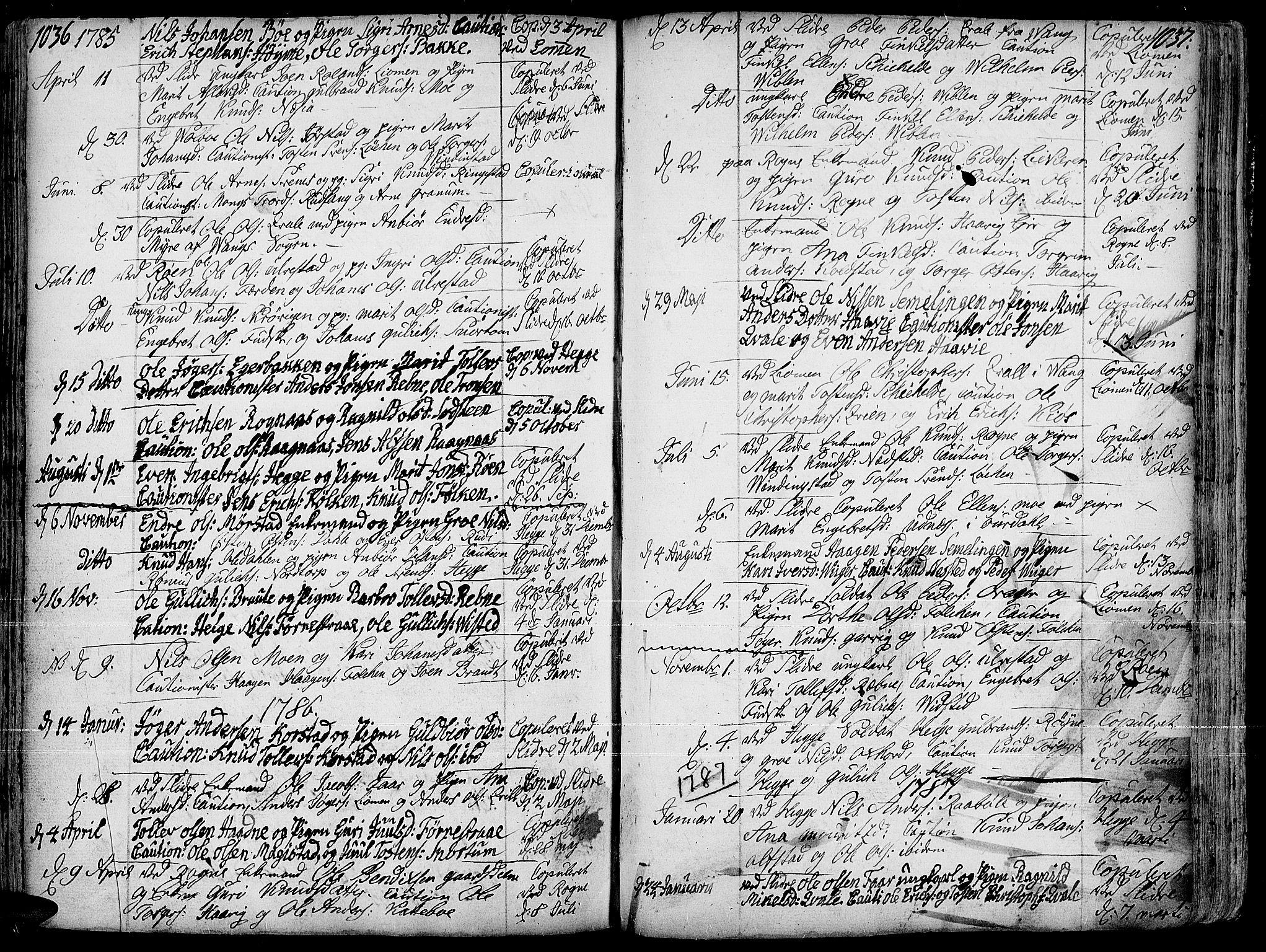 SAH, Slidre prestekontor, Ministerialbok nr. 1, 1724-1814, s. 1036-1037