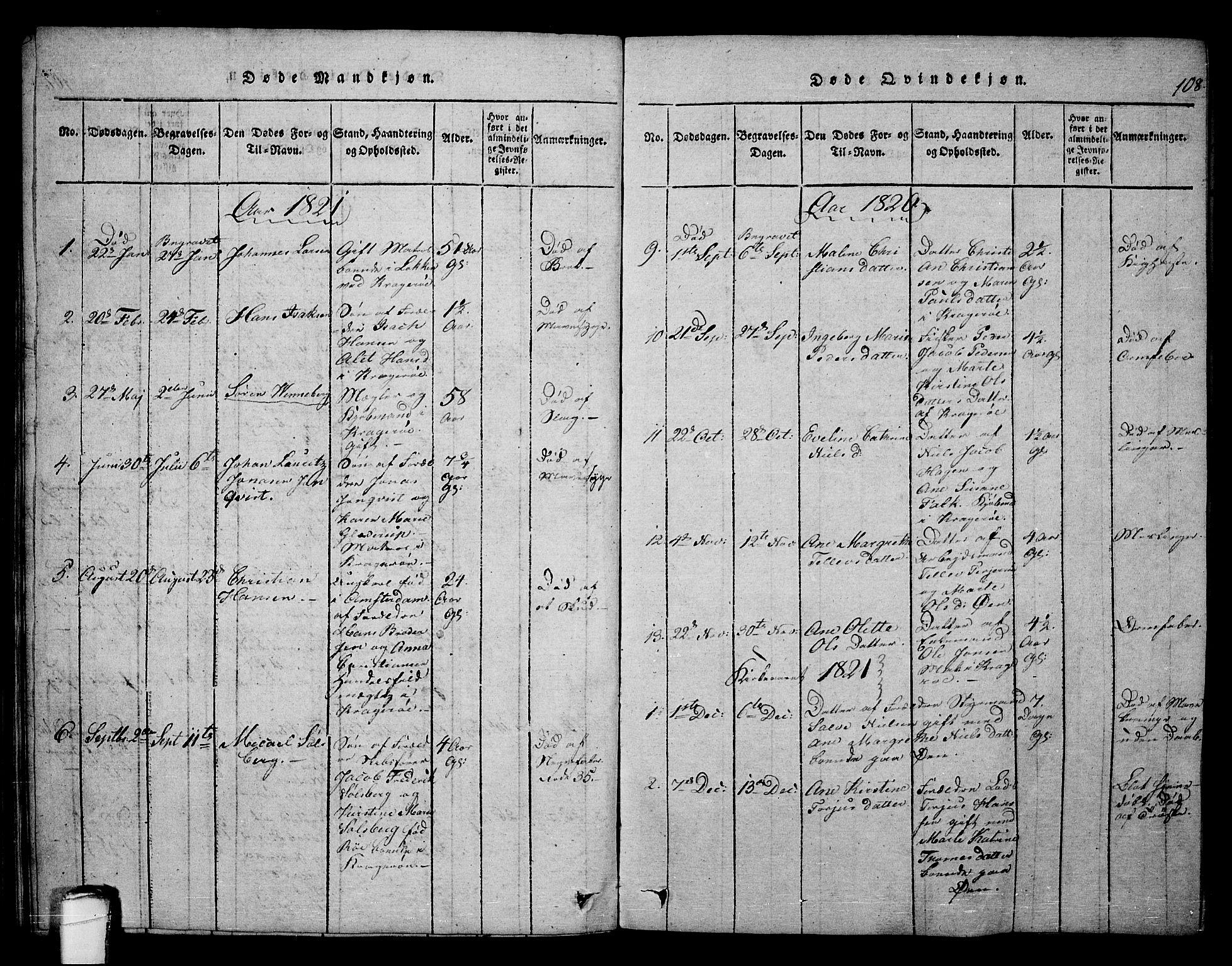 SAKO, Kragerø kirkebøker, F/Fa/L0004: Ministerialbok nr. 4, 1814-1831, s. 108