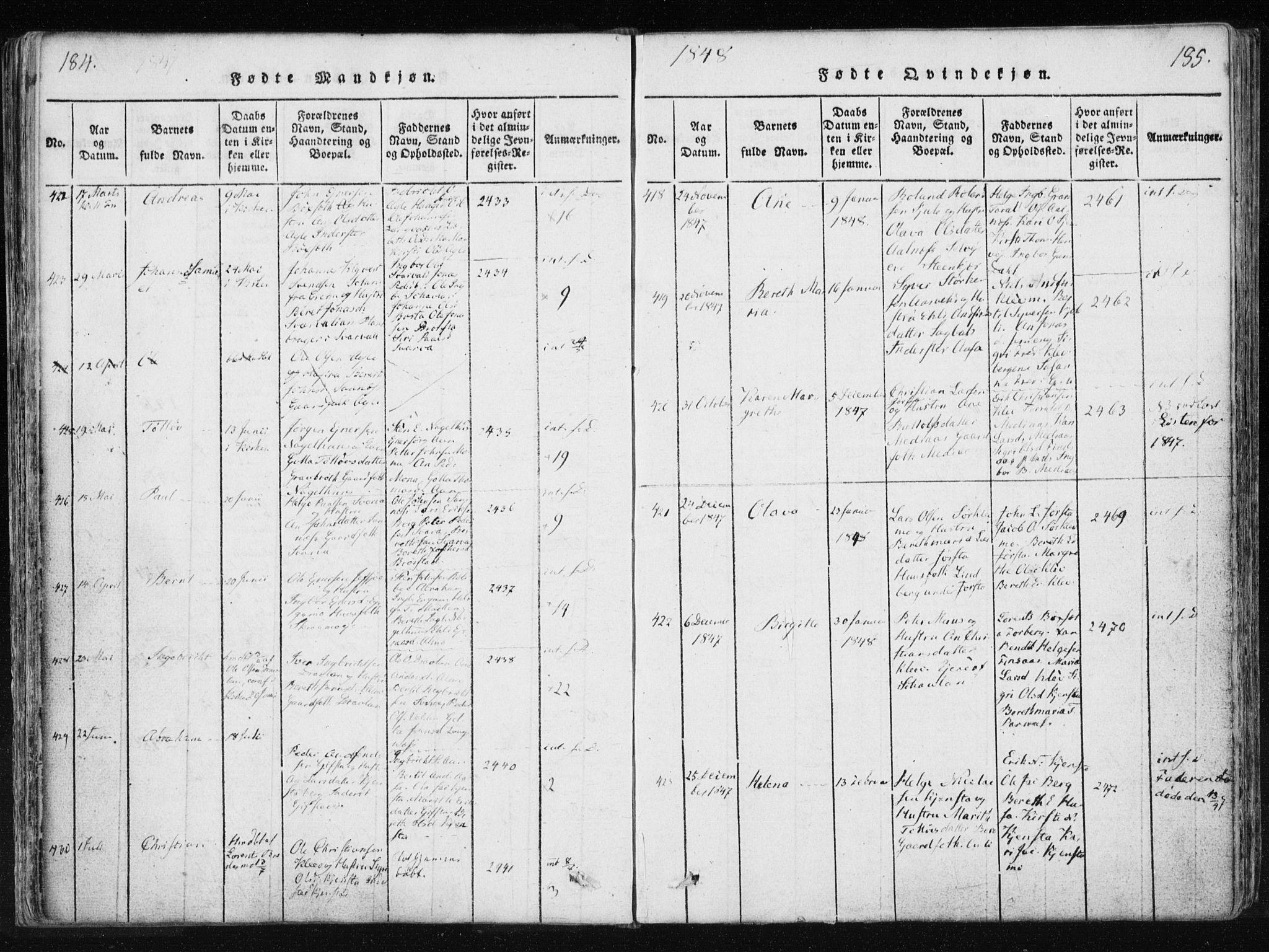 SAT, Ministerialprotokoller, klokkerbøker og fødselsregistre - Nord-Trøndelag, 749/L0469: Ministerialbok nr. 749A03, 1817-1857, s. 184-185