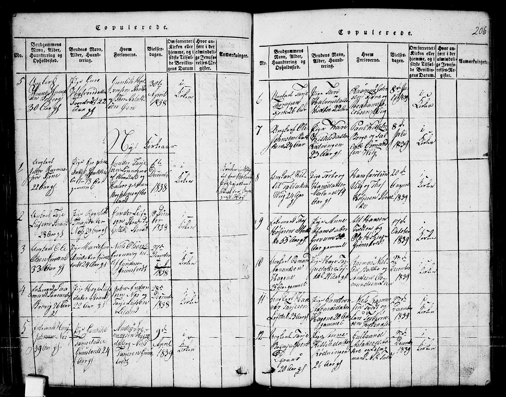 SAKO, Nissedal kirkebøker, G/Ga/L0001: Klokkerbok nr. I 1, 1814-1860, s. 206