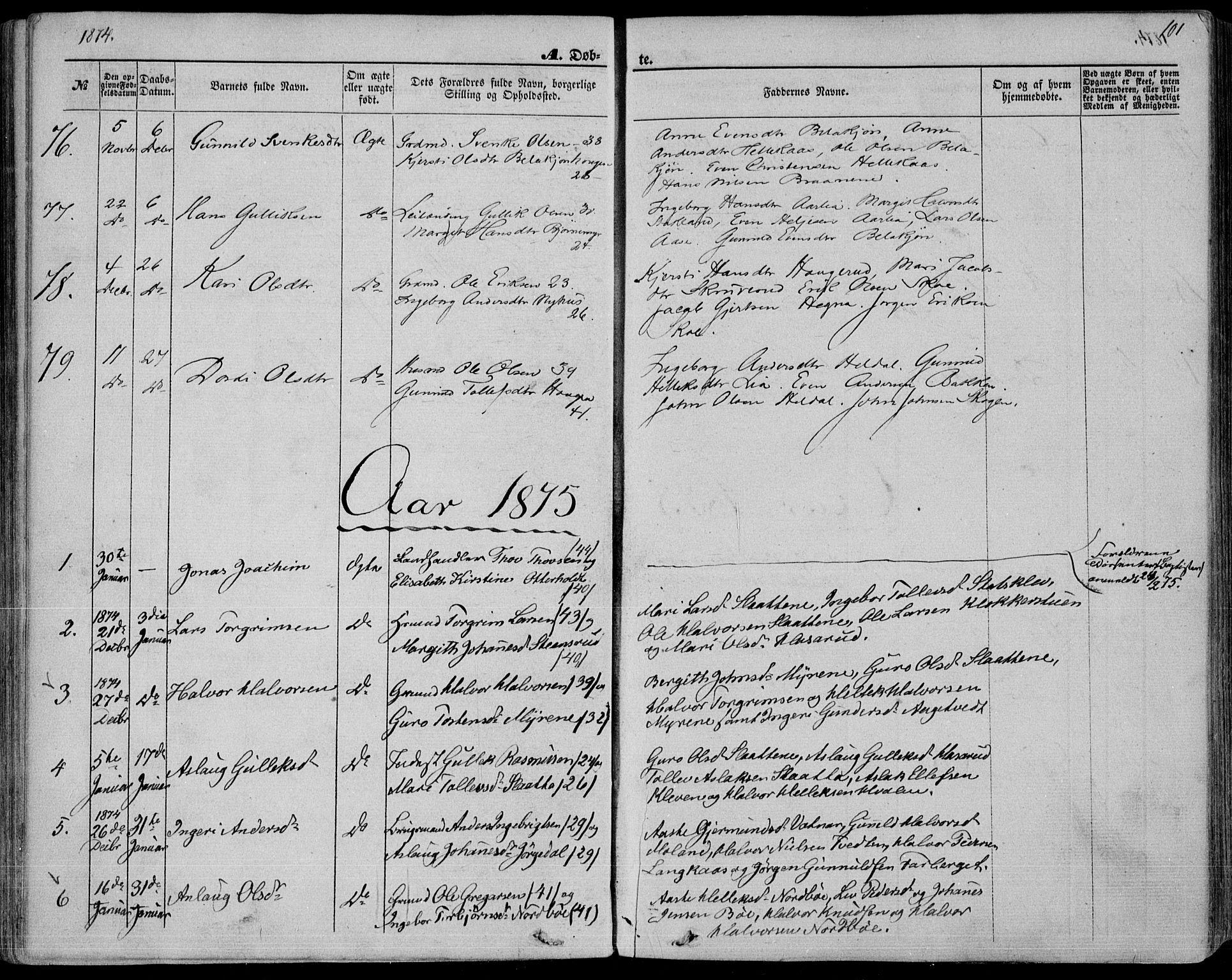 SAKO, Bø kirkebøker, F/Fa/L0009: Ministerialbok nr. 9, 1862-1879, s. 101