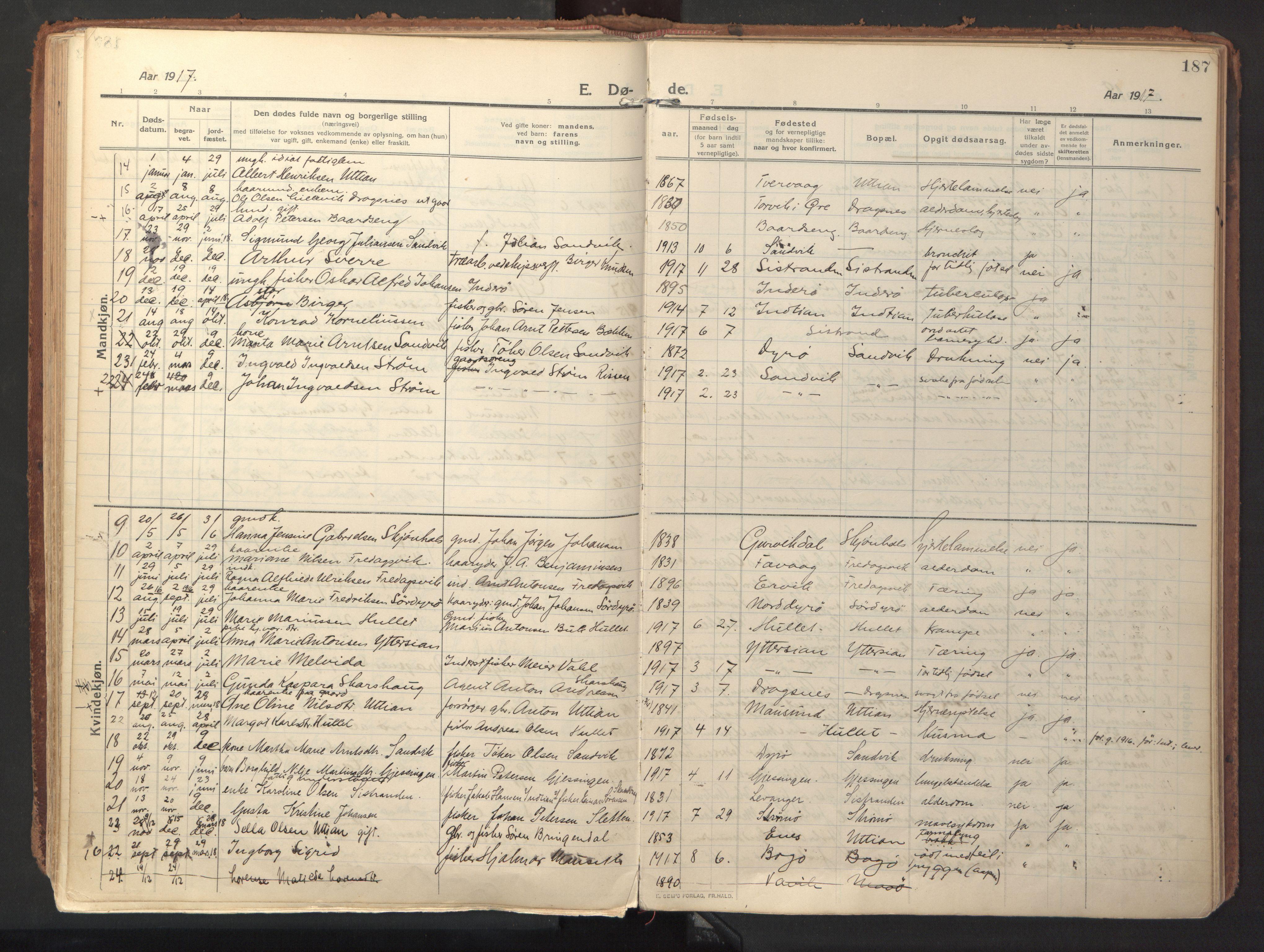 SAT, Ministerialprotokoller, klokkerbøker og fødselsregistre - Sør-Trøndelag, 640/L0581: Ministerialbok nr. 640A06, 1910-1924, s. 187