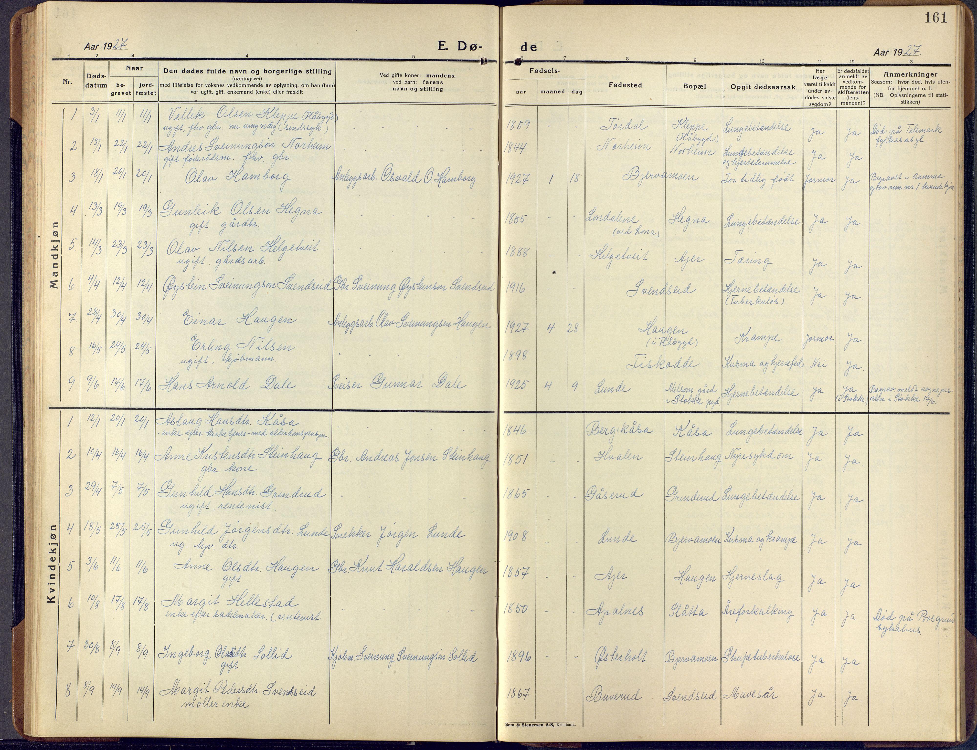 SAKO, Lunde kirkebøker, F/Fa/L0006: Ministerialbok nr. I 6, 1922-1940, s. 161