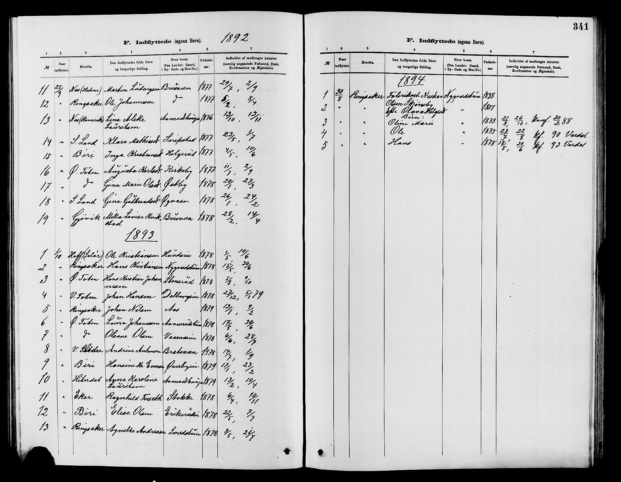 SAH, Vardal prestekontor, H/Ha/Hab/L0007: Klokkerbok nr. 7 /1, 1881-1895, s. 341