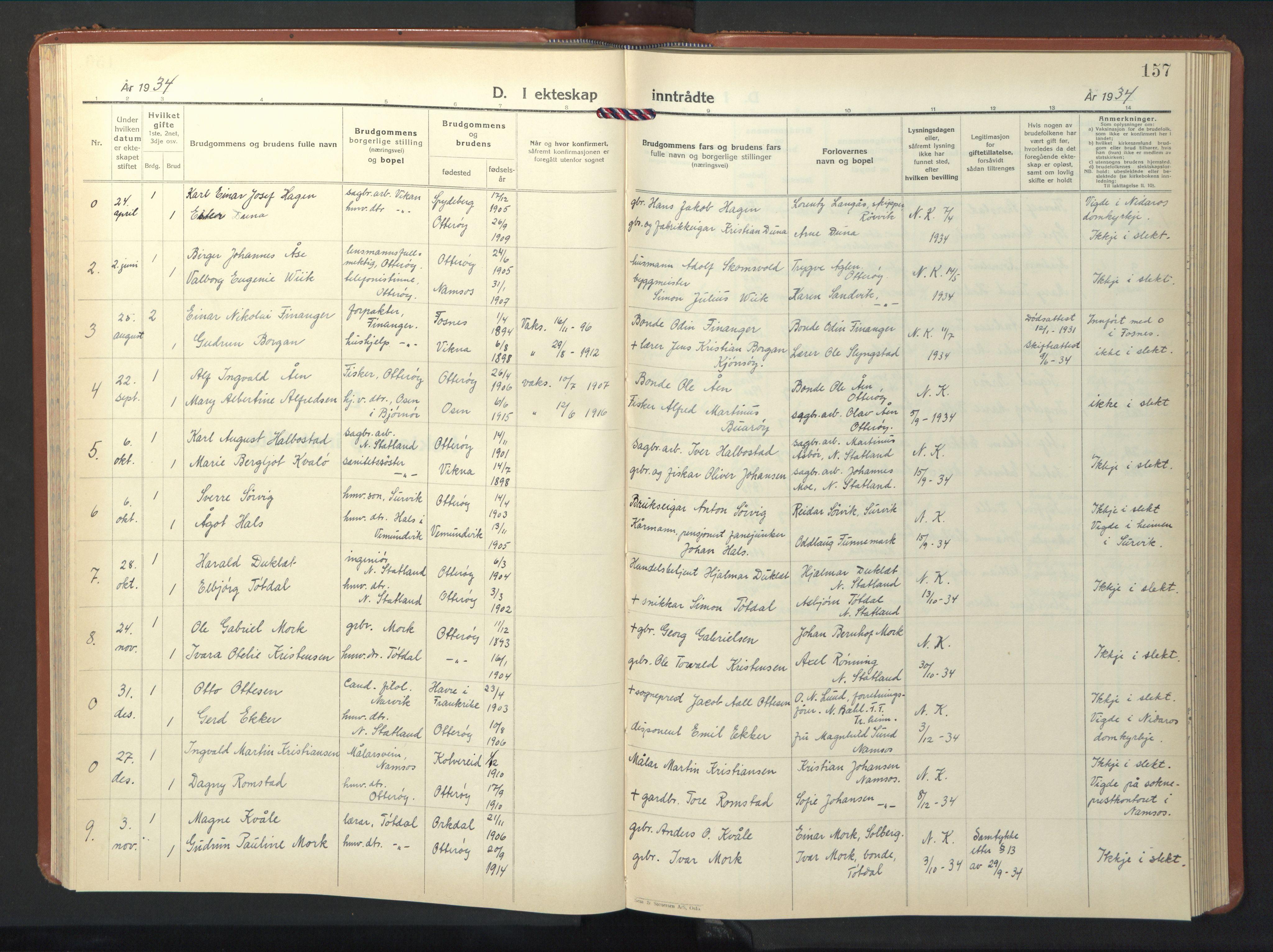 SAT, Ministerialprotokoller, klokkerbøker og fødselsregistre - Nord-Trøndelag, 774/L0631: Klokkerbok nr. 774C02, 1934-1950, s. 157
