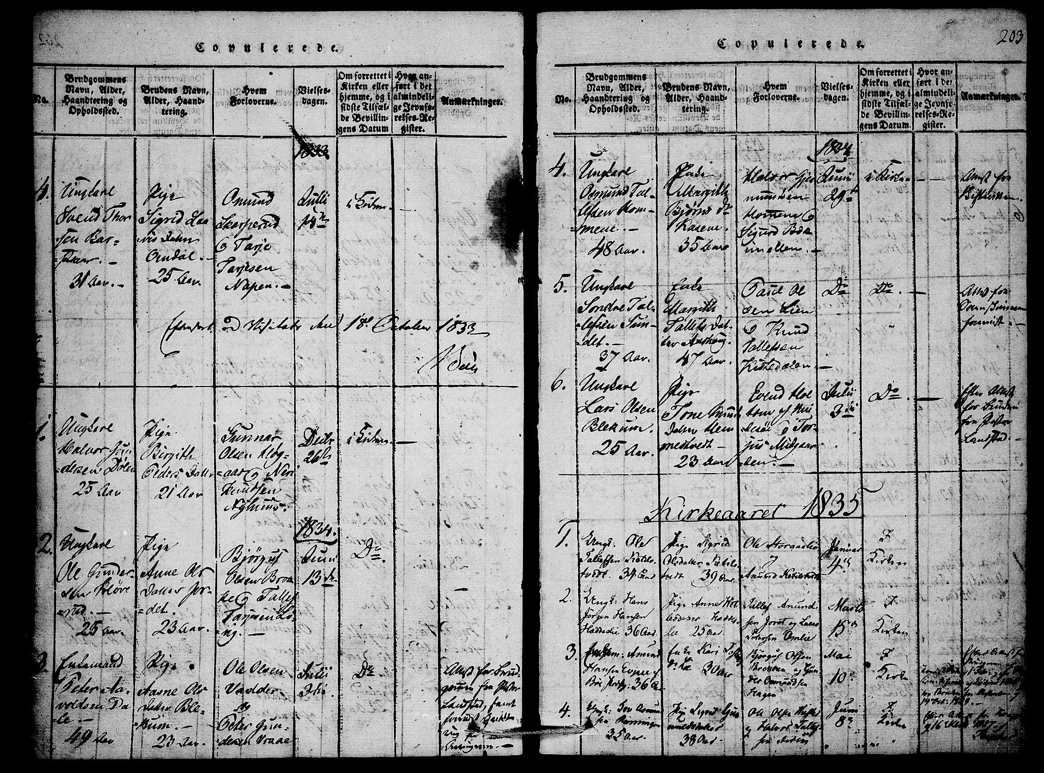 SAKO, Mo kirkebøker, F/Fb/L0001: Ministerialbok nr. II 1, 1814-1844, s. 203