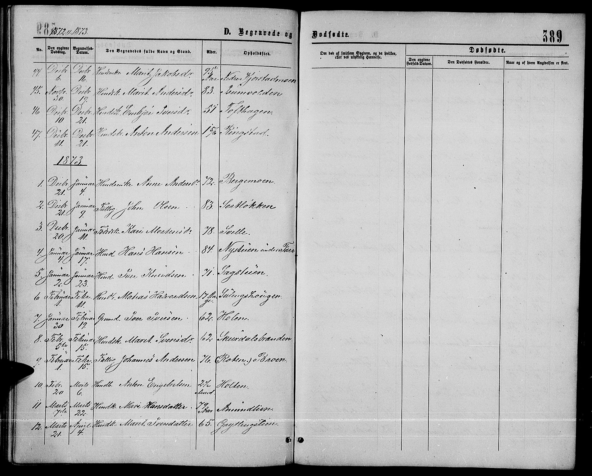 SAH, Sør-Fron prestekontor, H/Ha/Hab/L0002: Klokkerbok nr. 2, 1864-1883, s. 389