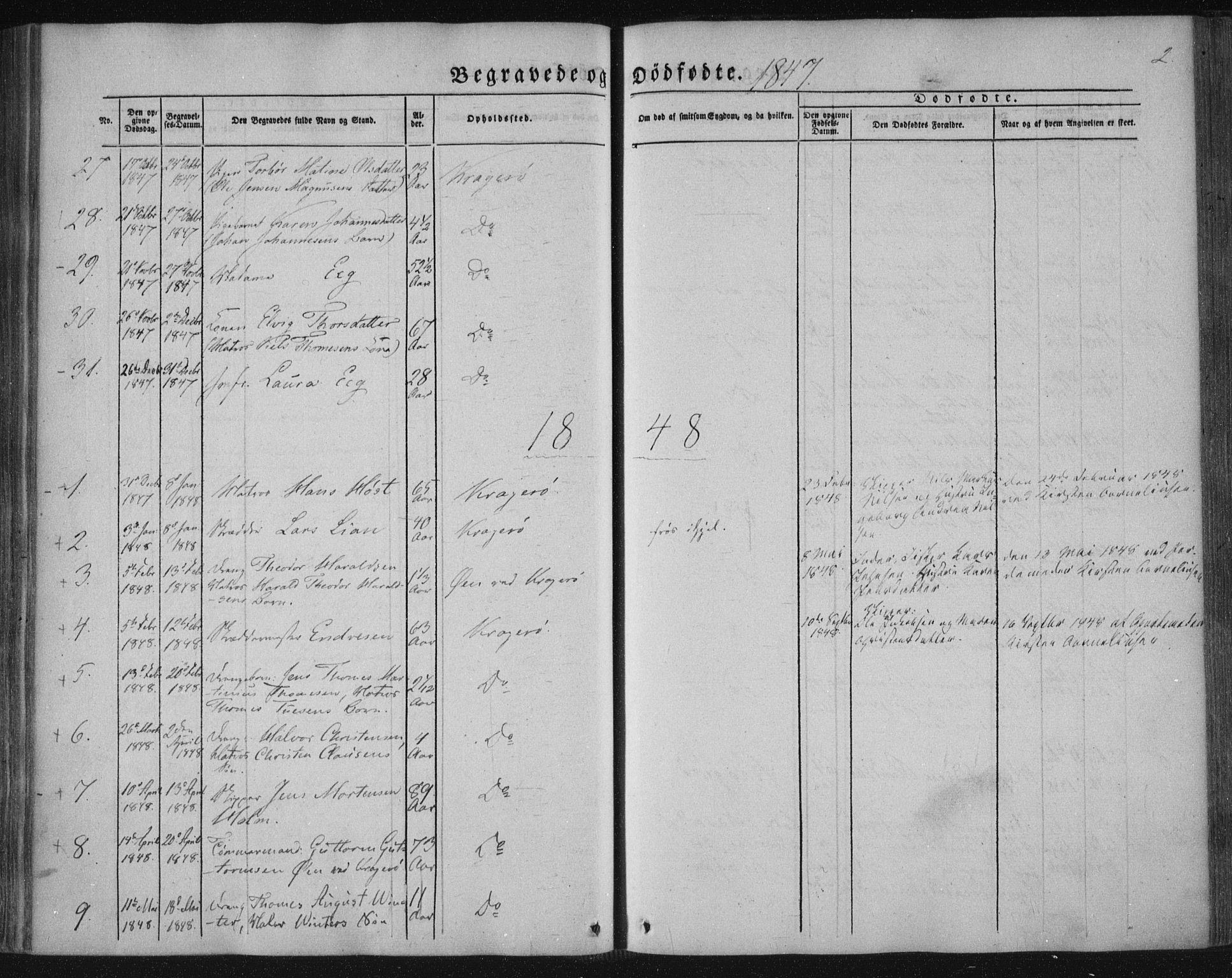 SAKO, Kragerø kirkebøker, F/Fa/L0006: Ministerialbok nr. 6, 1847-1861, s. 2