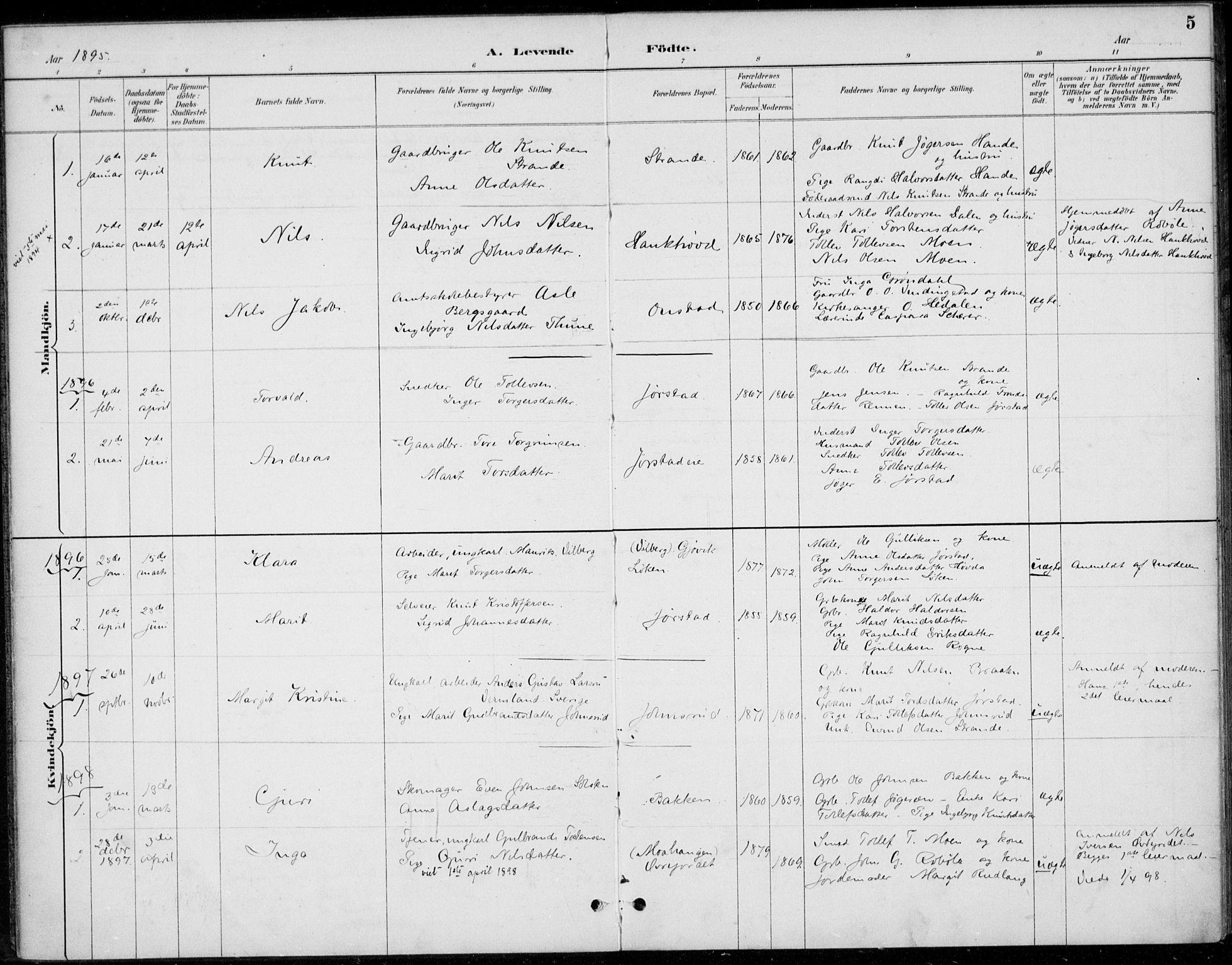 SAH, Øystre Slidre prestekontor, Ministerialbok nr. 5, 1887-1916, s. 5