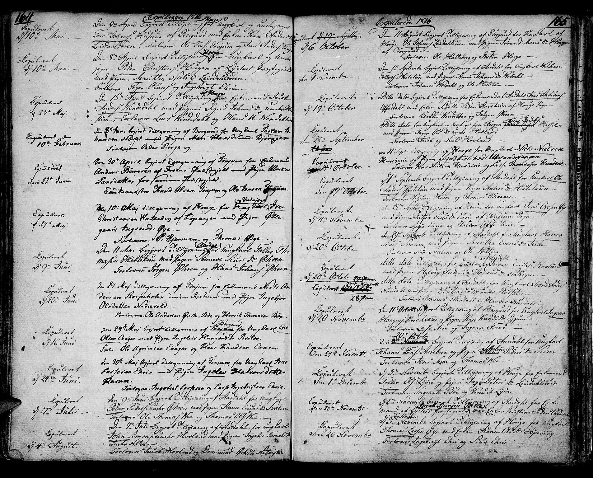 SAB, Lærdal sokneprestembete, Ministerialbok nr. A 4, 1805-1821, s. 164-165