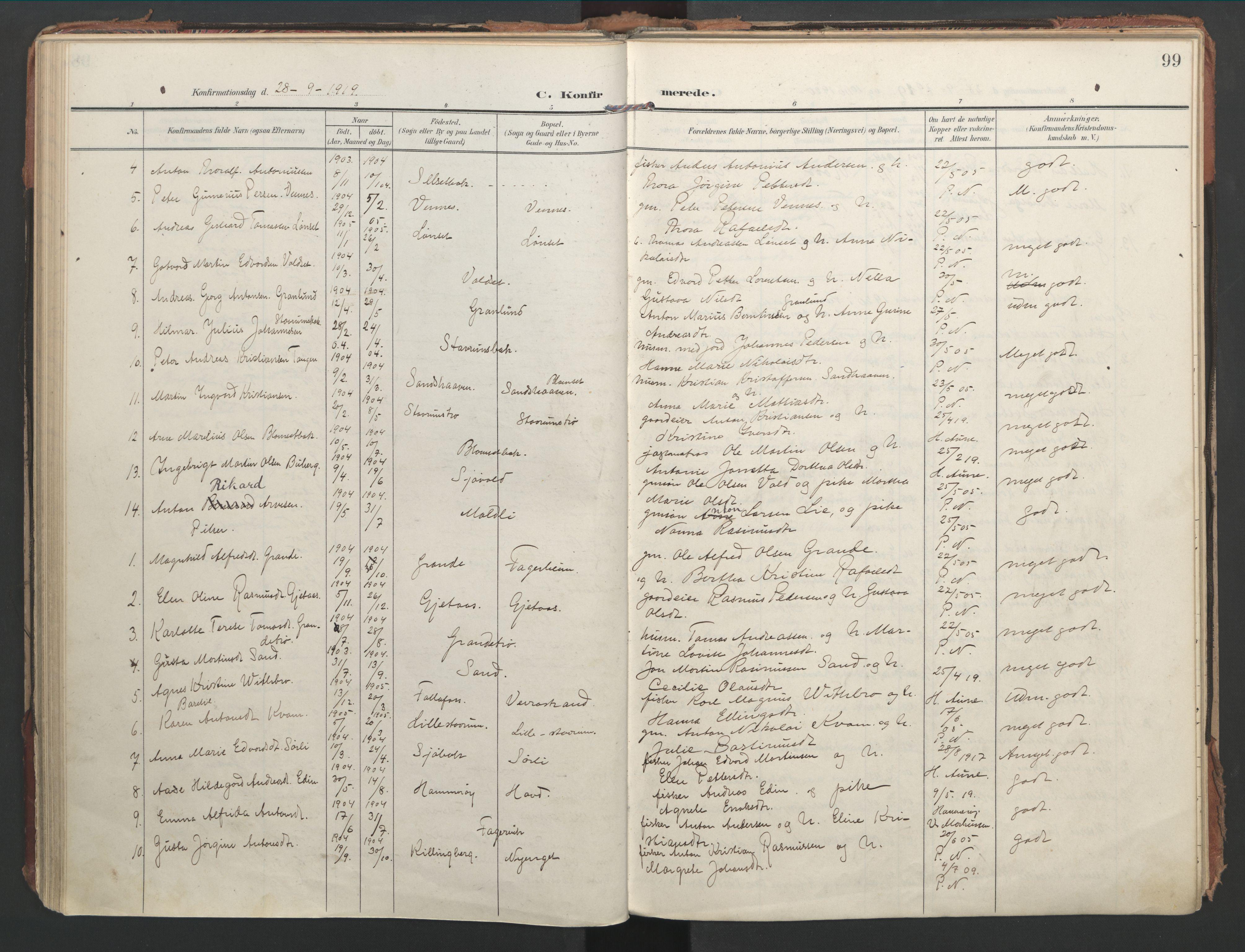 SAT, Ministerialprotokoller, klokkerbøker og fødselsregistre - Nord-Trøndelag, 744/L0421: Ministerialbok nr. 744A05, 1905-1930, s. 99