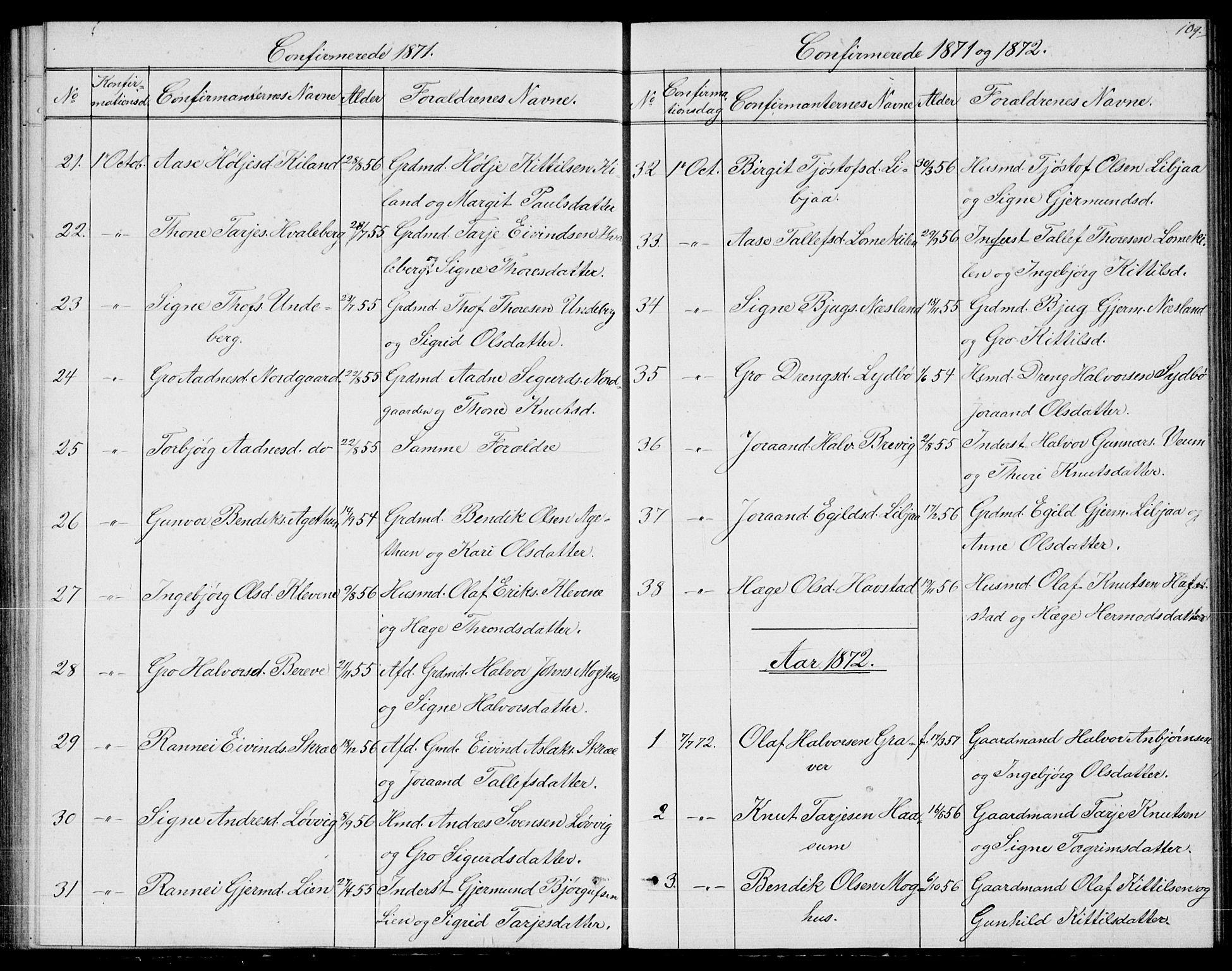 SAKO, Fyresdal kirkebøker, G/Ga/L0004: Klokkerbok nr. I 4, 1864-1892, s. 109