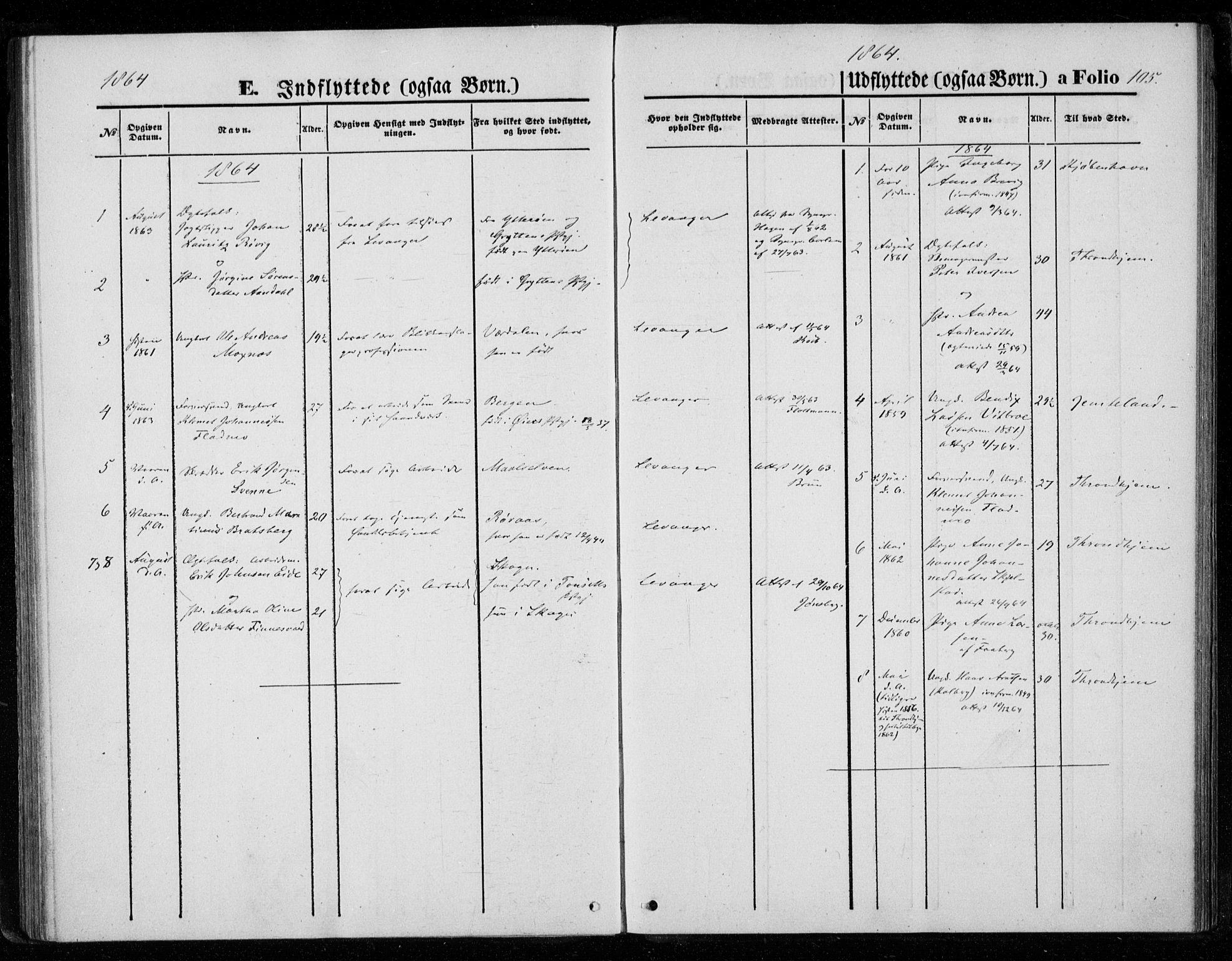 SAT, Ministerialprotokoller, klokkerbøker og fødselsregistre - Nord-Trøndelag, 720/L0186: Ministerialbok nr. 720A03, 1864-1874, s. 105