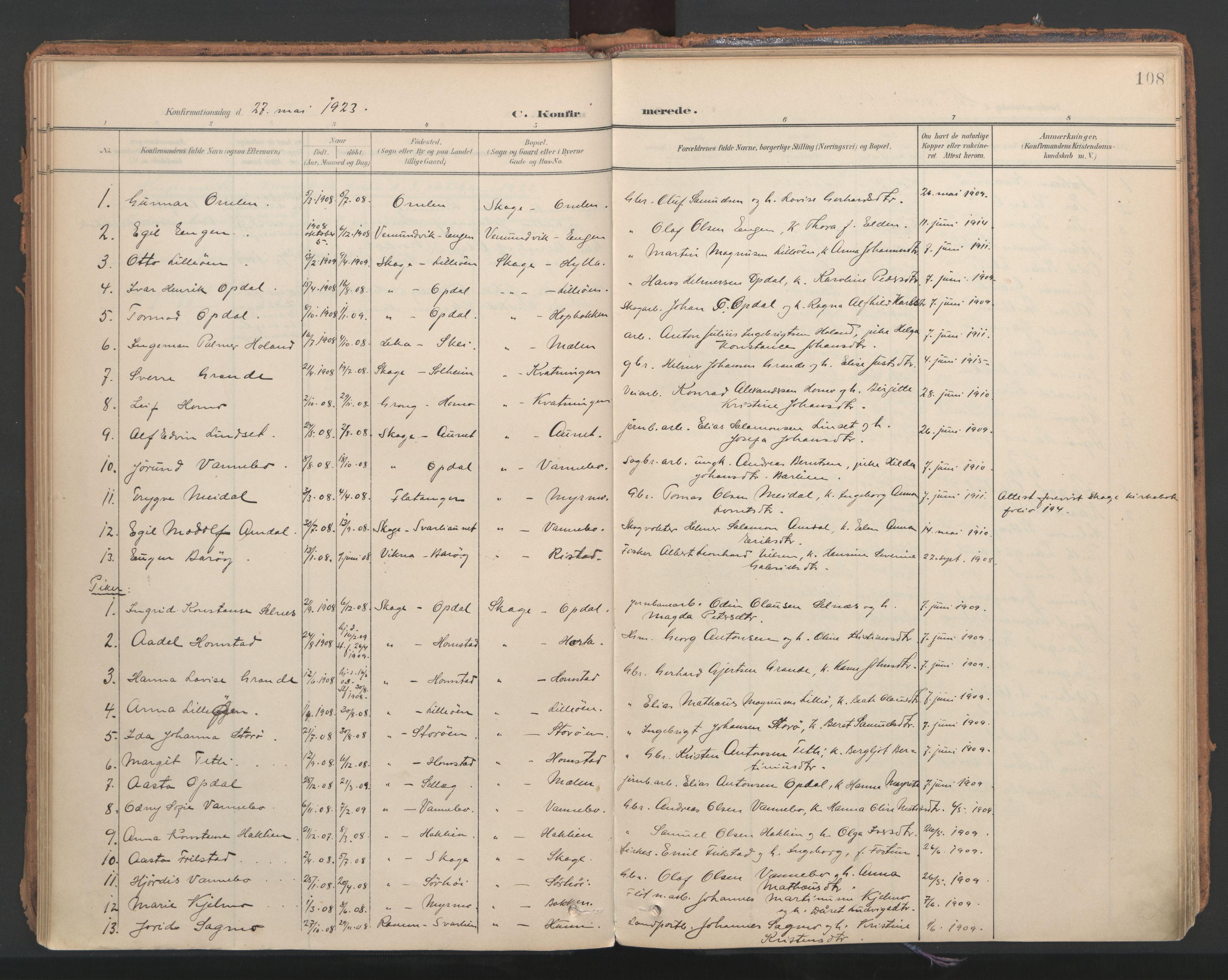 SAT, Ministerialprotokoller, klokkerbøker og fødselsregistre - Nord-Trøndelag, 766/L0564: Ministerialbok nr. 767A02, 1900-1932, s. 108