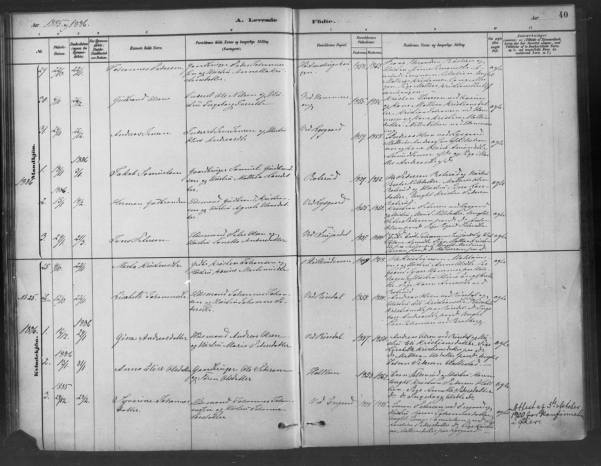 SAH, Fåberg prestekontor, Ministerialbok nr. 9, 1879-1898, s. 40