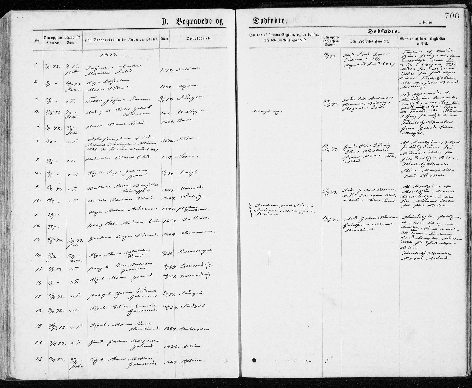SAT, Ministerialprotokoller, klokkerbøker og fødselsregistre - Sør-Trøndelag, 640/L0576: Ministerialbok nr. 640A01, 1846-1876, s. 700