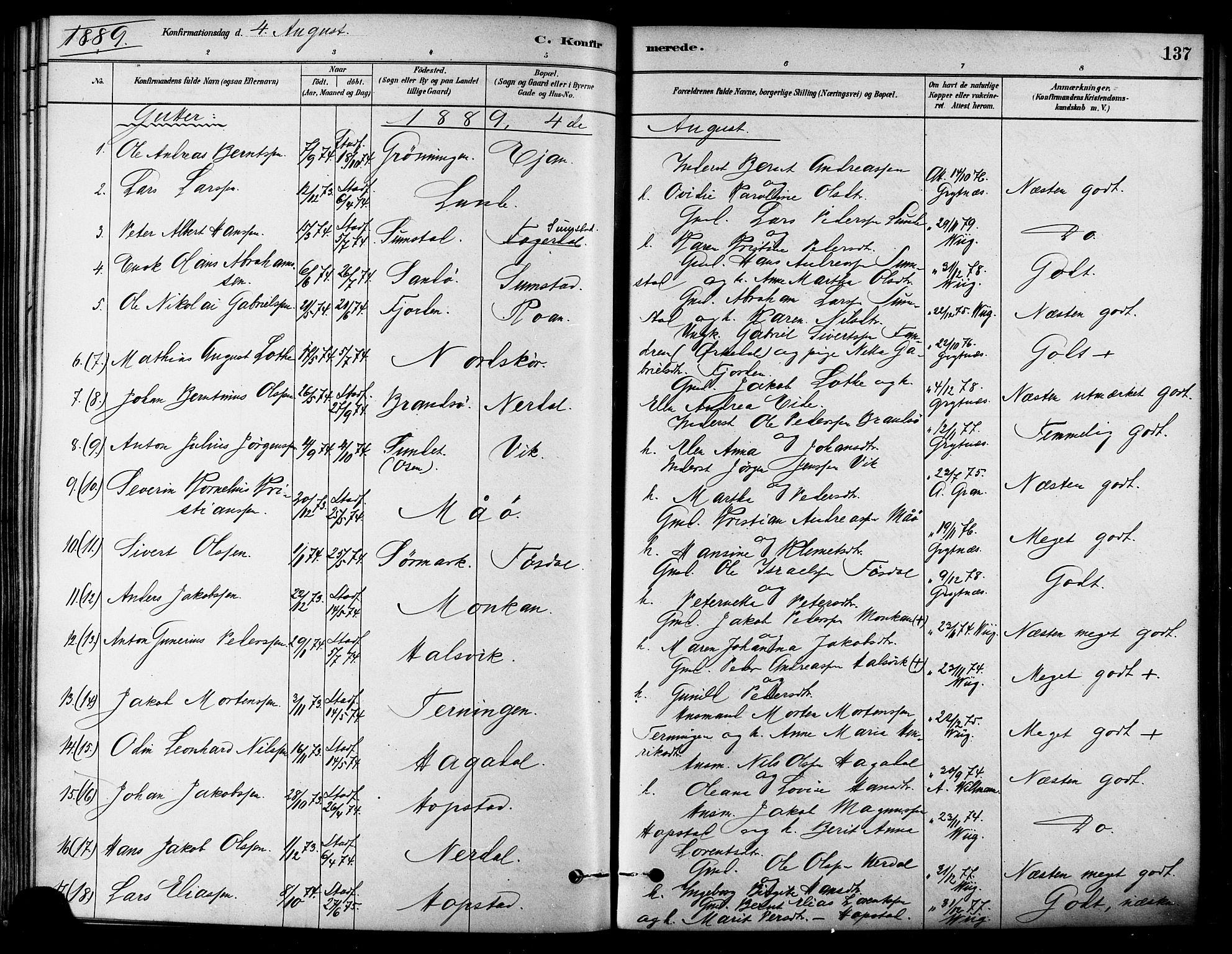 SAT, Ministerialprotokoller, klokkerbøker og fødselsregistre - Sør-Trøndelag, 657/L0707: Ministerialbok nr. 657A08, 1879-1893, s. 137