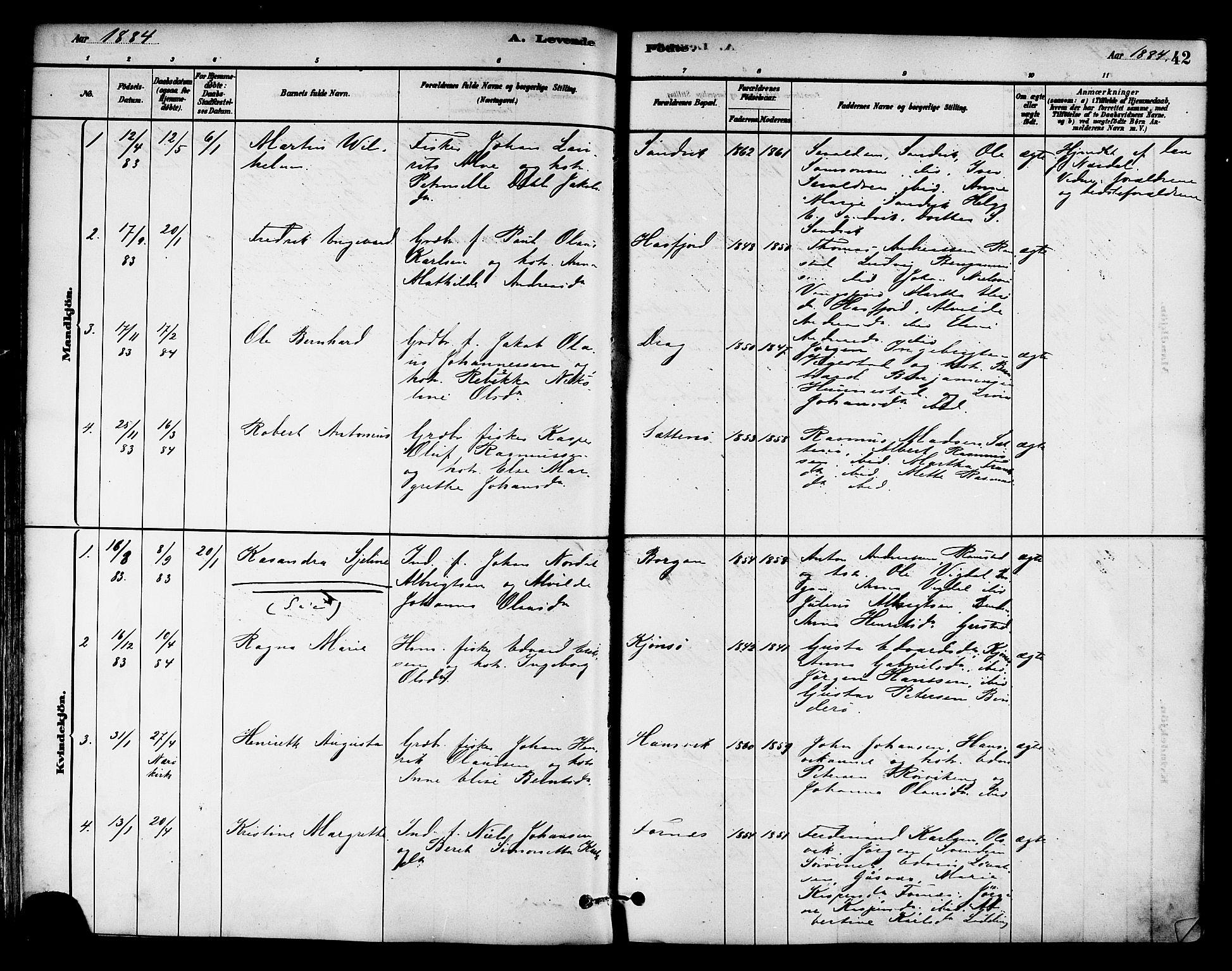SAT, Ministerialprotokoller, klokkerbøker og fødselsregistre - Nord-Trøndelag, 786/L0686: Ministerialbok nr. 786A02, 1880-1887, s. 42