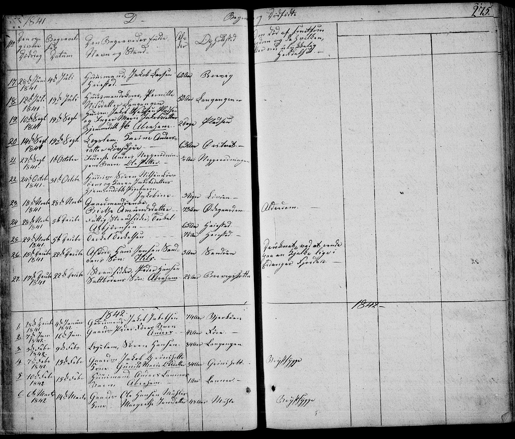 SAKO, Eidanger kirkebøker, F/Fa/L0008: Ministerialbok nr. 8, 1831-1858, s. 275