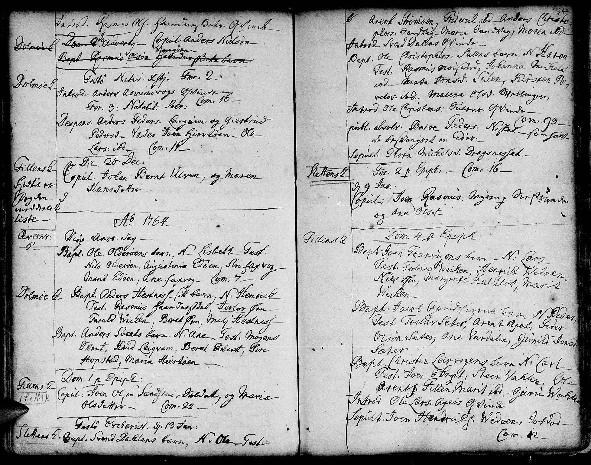 SAT, Ministerialprotokoller, klokkerbøker og fødselsregistre - Sør-Trøndelag, 634/L0525: Ministerialbok nr. 634A01, 1736-1775, s. 244