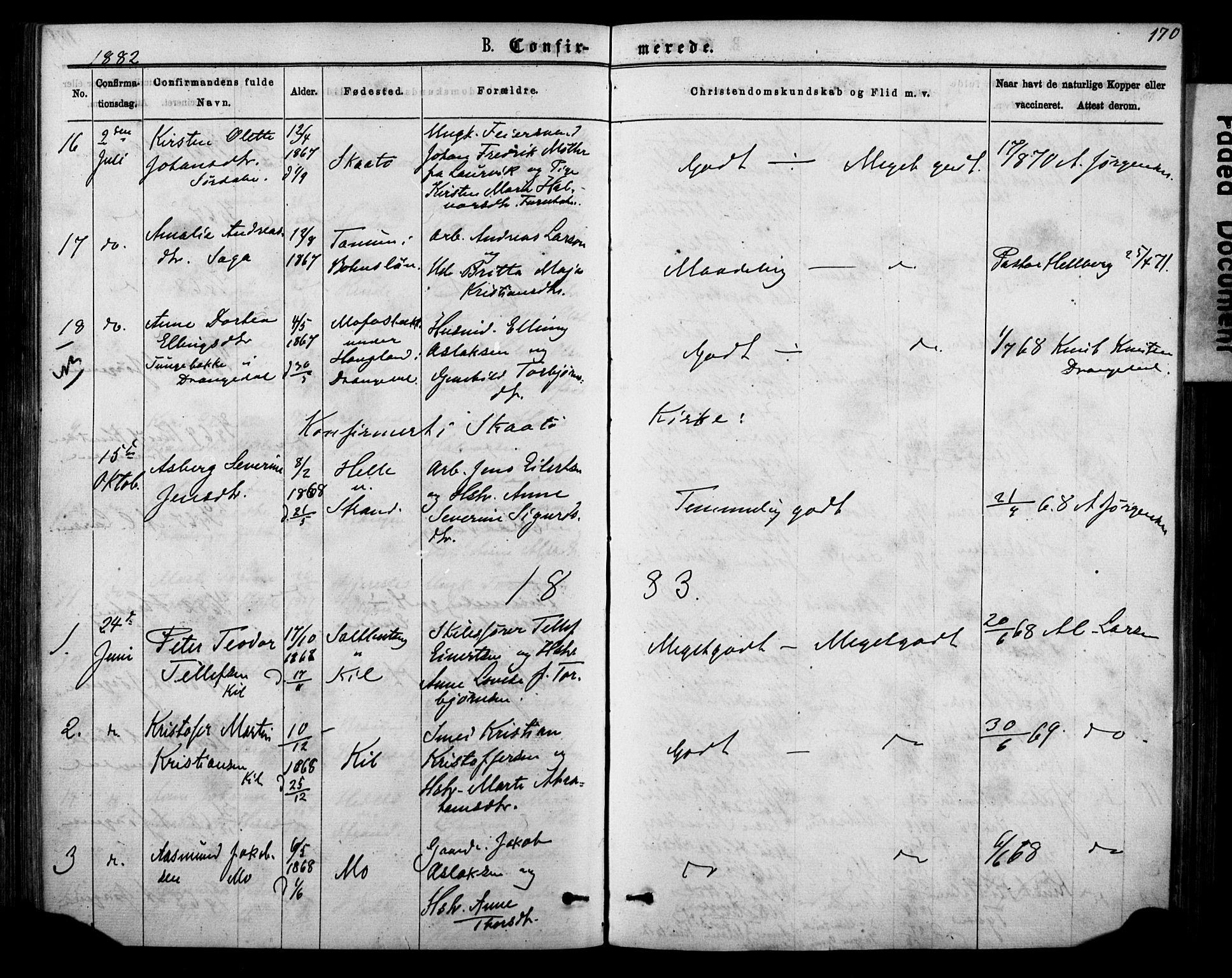 SAKO, Sannidal kirkebøker, F/Fa/L0014: Ministerialbok nr. 14, 1874-1883, s. 170